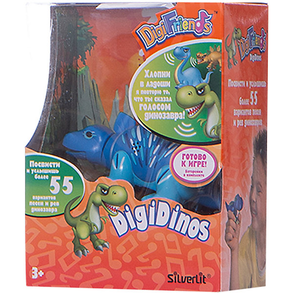 Динозавр Simon, синий с голубыми лапами, DigiBirdsИнтерактивные животные<br>Характеристики товара:<br><br>- цвет: синий;<br>- материал: пластик, металл;<br>- батарейки: 3xAG13/LR44, в комплекте;<br>- размер упаковки: 16x13x7 см;<br>- габариты игрушки: 6,5x10x15 см;<br>- умеет петь, рычать, шевелить головой и хвостом.<br><br>Такая игрушка в виде динозавра поможет ребенку весело проводить время - динозавр умеет петь, рычать, шевелить головой и хвостом. Это выглядит очень забавно! Игрушка реагирует на звук от специального свистка, который входит в комплект. Также можно приобрести другие игрушки из этой серии - тогда они будут петь хором!<br>Динозавр способен помогать всестороннему развитию ребенка: развивать тактильное восприятие, мелкую моторику, воображение, внимание и логику. Изделие произведено из качественных материалов, безопасных для ребенка. Набор станет отличным подарком детям!<br><br>Динозавр Simon, синий с голубыми лапами, от бренда DigiBirds можно купить в нашем интернет-магазине.<br>Ширина мм: 115; Глубина мм: 15; Высота мм: 62; Вес г: 128; Возраст от месяцев: 36; Возраст до месяцев: 84; Пол: Унисекс; Возраст: Детский; SKU: 5138203;