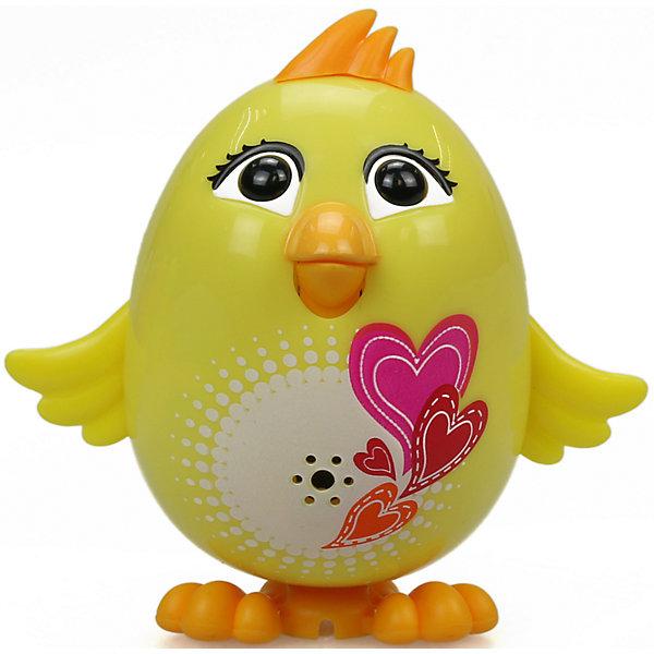 Цыпленок с кольцом Mila, желтый, DigiBirdsИнтерактивные животные<br>Характеристики товара:<br><br>- цвет: желтый;<br>- материал: пластик, металл;<br>- батарейки: 3xAG13/LR44, в комплекте;<br>- размер упаковки: 10x6x15 см;<br>- габариты игрушки: 6 см;<br>- умеет петь.<br><br>Такая игрушка в виде цыпленка поможет ребенку весело проводить время - она умеет петь. Это выглядит очень забавно! Игрушка реагирует на звук от специального свистка, который входит в комплект. Также можно приобрести другие игрушки из этой серии - тогда они будут петь хором!<br>Цыпленок способен помогать всестороннему развитию ребенка: развивать тактильное восприятие, мелкую моторику, воображение, внимание и логику. Изделие произведено из качественных материалов, безопасных для ребенка. Набор станет отличным подарком детям!<br><br>Цыпленка с кольцом Mila, желтый, от бренда DigiBirds можно купить в нашем интернет-магазине.<br><br>Ширина мм: 200<br>Глубина мм: 102<br>Высота мм: 152<br>Вес г: 122<br>Возраст от месяцев: 36<br>Возраст до месяцев: 84<br>Пол: Женский<br>Возраст: Детский<br>SKU: 5138207