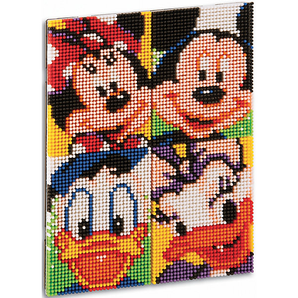 """Мозаика пиксельная """"Микки и его друзья"""", QuercettiМозаика<br>Мозаика пиксельная """"Микки и его друзья"""", Quercetti (Кверсетти).<br><br>Характеристики:<br><br>- В наборе: 6600 деталей диаметром 4 мм 9-ти цветов, 4 соединяющихся основы (размер одной основы 12х 16,5 см.), брошюра с карточками на которых изображены персонажи, инструкциями для создания портрета, соединительная панель<br>- Материал: безопасный пластик, окрашенный нетоксичными красками<br>- Упаковка: картонная коробка с ручкой<br>- Размер упаковки: 29 х 28,5 х 6 см.<br>- Вес: 1165 гр.<br><br>Пиксельная мозаика """"Микки и его друзья"""" от Quercetti (Кверсетти) поможет вашему малышу из 6600 деталей создать портреты знаменитых персонажей мультфильмов Диснея – Микки и Минни Маус, Дональда и Дэйзи Дак. Нужно просто положить цветную схему на основу и можно начинать собирать мозаику! Рисунок на листе разделен на маленькие квадратики. Ребенку нужно выбрать подходящие по цвету детали-гвоздики и вставить их в отверстия. Кончики элементов легко проходят сквозь бумагу и надежно фиксируются в основе. В итоге они ложатся ровными рядами, а разноцветные шляпки сливаются в единое цветовое полотно, и если смотреть на собранную картинку с расстояния, изображение чудесным образом преобразится, повторяя эффект фотографии. Готовые картинки можно соединить вместе и повесить на стену, как настоящую картину. Собирание мозаики развивает у детей цветовосприятие, творческие способности, внимание, усидчивость и мелкую моторику.<br><br>Мозаику пиксельную """"Микки и его друзья"""", Quercetti (Кверсетти) можно купить в нашем интернет-магазине.<br><br>Ширина мм: 390<br>Глубина мм: 70<br>Высота мм: 300<br>Вес г: 1243<br>Возраст от месяцев: 72<br>Возраст до месяцев: 2147483647<br>Пол: Унисекс<br>Возраст: Детский<br>SKU: 5140049"""