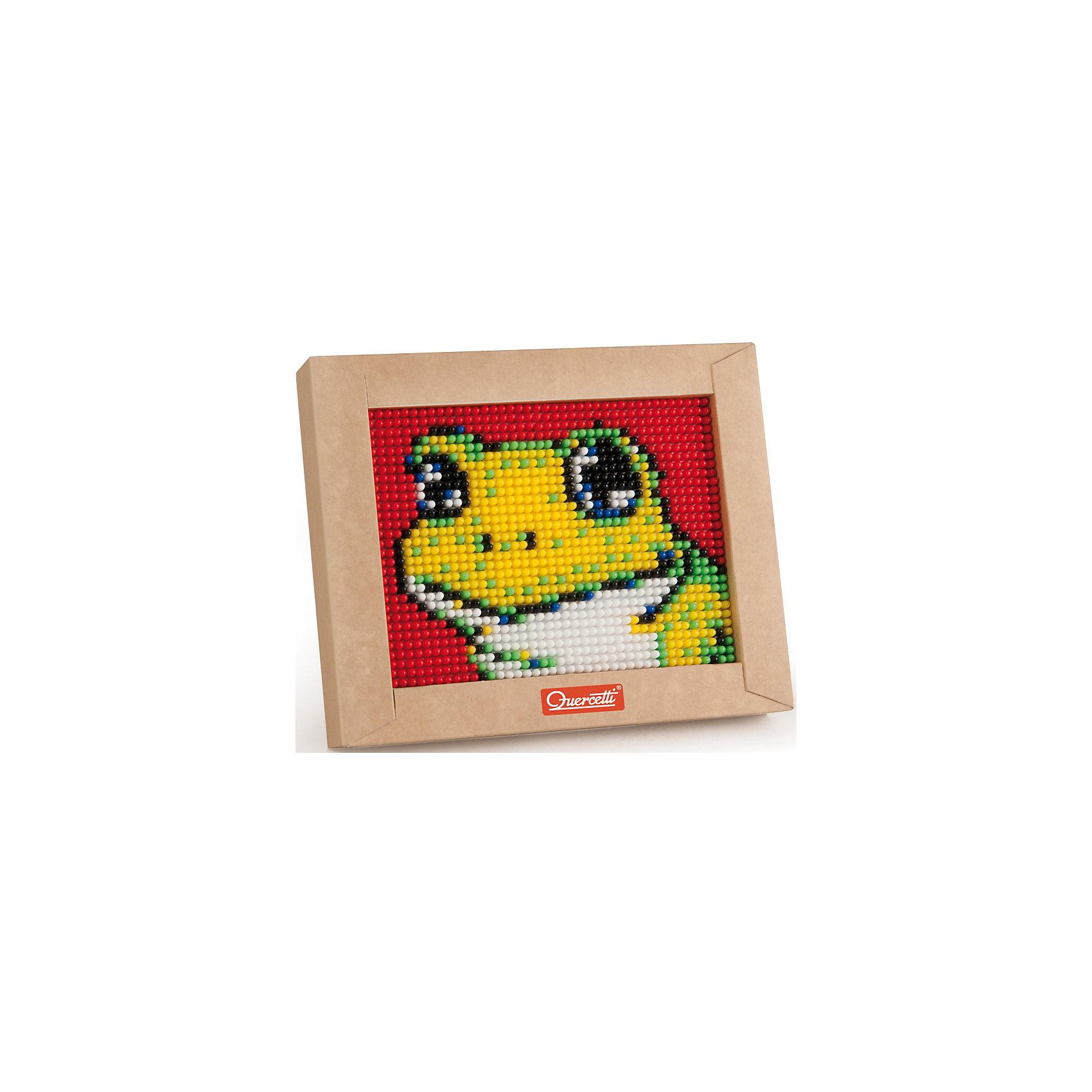 Пиксельная мозаика Лягушонок, 1200 деталей, QuercettiПиксельная мозаика Лягушонок, 1200 деталей, Quercetti (Кверсетти).<br><br>Характеристики:<br><br>- В наборе: 1200 деталей 6-ти цветов, основа (наборная доска), картонная рамка, направляющий лист, плакат, инструкция<br>- Размер основы: 16,5 х 12,5 см.<br>- Размер рамки: 21 х 16,5 х 3,2 см.<br>- Цвета: белый, черный, красный, синий, желтый, зеленый<br>- Материал: безопасный пластик, окрашенный нетоксичными красками<br>- Упаковка: картонная коробка<br>- Размер упаковки: 17 х 22 х 4 см.<br><br>Пиксельная мозаика от Quercetti (Кверсетти) поможет вашему малышу из 1200 деталей создать изображение лягушонка. Нужно просто положить цветную схему на основу и можно начинать собирать мозаику! Рисунок на листе разделен на маленькие квадратики. Ребенку нужно выбрать подходящие по цвету детали-гвоздики и вставить их в отверстия. Кончики элементов легко проходят сквозь бумагу и надежно фиксируются в основе. В итоге они ложатся ровными рядами, а разноцветные шляпки сливаются в единое цветовое полотно, и если смотреть на собранную картинку с расстояния, изображение чудесным образом преобразится, повторяя эффект фотографии. Готовую картинку можно вставить в картонную рамочку и повесить на стену, как настоящую картину. Собирание мозаики развивает у детей цветовосприятие, творческие способности, внимание, усидчивость и мелкую моторику.<br><br>Пиксельную мозаику Лягушонок, 1200 деталей, Quercetti (Кверсетти) можно купить в нашем интернет-магазине.<br><br>Ширина мм: 220<br>Глубина мм: 36<br>Высота мм: 170<br>Вес г: 314<br>Возраст от месяцев: 60<br>Возраст до месяцев: 2147483647<br>Пол: Унисекс<br>Возраст: Детский<br>SKU: 5140050