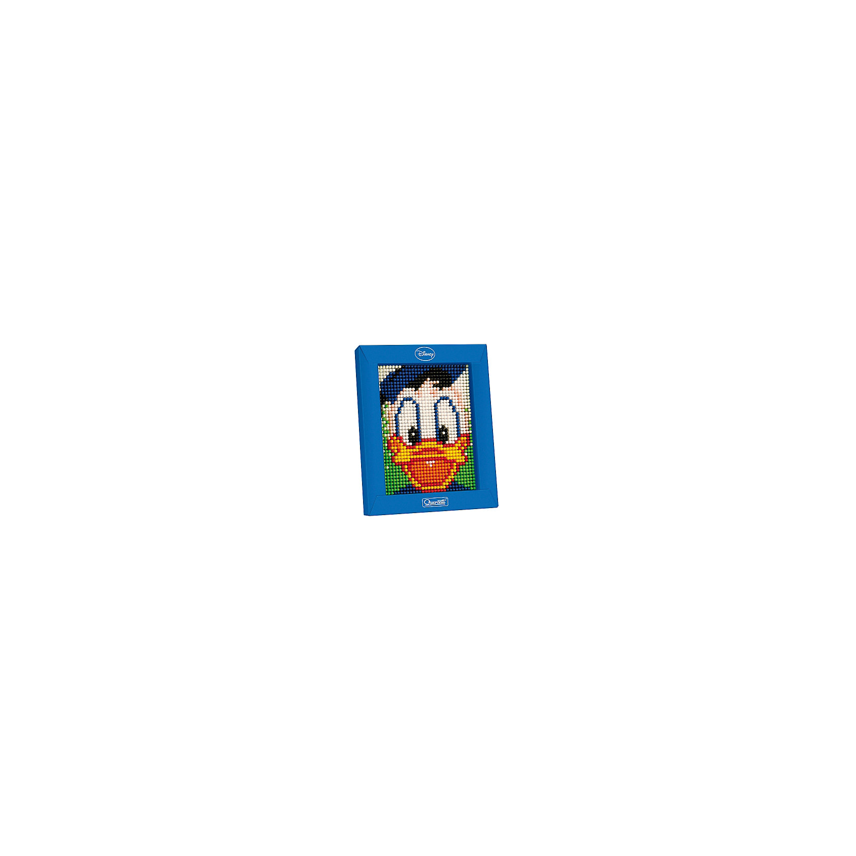 Пиксельная мозаика Дональд, 1200 деталей, QuercettiМозаика<br>Пиксельная мозаика Дональд, 1200 деталей, Quercetti (Кверсетти).<br><br>Характеристики:<br><br>- В наборе: 1200 деталей 8-ти цветов, основа (наборная доска), картонная рамка, направляющий лист, плакат, инструкция<br>- Размер основы: 12 х 16,5 см.<br>- Размер рамки: 16,5 х 21 х 3,2 см.<br>- Цвета: белый, черный, розовый, оранжевый, красный, синий, зеленый, желтый<br>- Материал: безопасный пластик, окрашенный нетоксичными красками<br>- Упаковка: картонная коробка<br>- Размер упаковки: 17 х 22 х 4 см.<br><br>Пиксельная мозаика от Quercetti (Кверсетти) поможет вашему малышу из 1200 деталей создать портрет любимого мультигероя Дональда Дака. Нужно просто положить цветную схему на основу и можно начинать собирать мозаику! Рисунок на листе разделен на маленькие квадратики. Ребенку нужно выбрать подходящие по цвету детали-гвоздики и вставить их в отверстия. Кончики элементов легко проходят сквозь бумагу и надежно фиксируются в основе. В итоге они ложатся ровными рядами, а разноцветные шляпки сливаются в единое цветовое полотно, и если смотреть на собранную картинку с расстояния, изображение чудесным образом преобразится, повторяя эффект фотографии. Готовую картинку можно вставить в картонную рамочку и повесить на стену, как настоящую картину. Собирание мозаики развивает у детей цветовосприятие, творческие способности, внимание, усидчивость и мелкую моторику.<br><br>Пиксельную мозаику Дональд, 1200 деталей, Quercetti (Кверсетти) можно купить в нашем интернет-магазине.<br><br>Ширина мм: 220<br>Глубина мм: 36<br>Высота мм: 170<br>Вес г: 298<br>Возраст от месяцев: 60<br>Возраст до месяцев: 2147483647<br>Пол: Унисекс<br>Возраст: Детский<br>SKU: 5140053