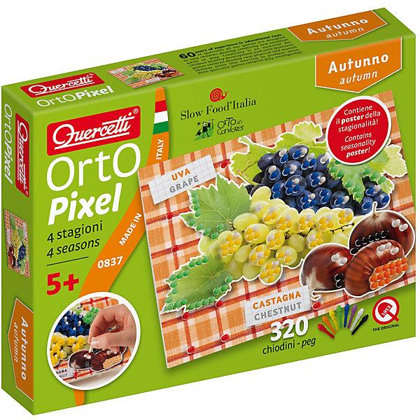 Пиксельная мозаика Осень, QuercettiМозаика<br>Пиксельная мозаика Осень, Quercetti (Кверчетти).<br><br>Характеристики:<br><br>- В наборе: 320 деталей 8-ми цветов, 6 рисунков, основа (наборная доска), альбом, плакат<br>- Цвета: красный, оранжевый, желтый, зеленый, синий, сиреневый, белый, черный<br>- Материал: безопасный пластик, окрашенный нетоксичными красками<br>- Упаковка: картонная коробка<br>- Размер упаковки: 17 х 22 х 4 см.<br><br>Пиксельная мозаика «Осень» от Quercetti (Кверчетти) – это творческий набор для создания рисунков с помощью уникальных крошечных деталей-гвоздиков, который в развлекательной форме расскажет вашему ребенку о том, какие овощи и фрукты растут в средиземноморской климатической зоне. Нужно просто выбрать понравившееся изображение, положить его на основу и можно начинать собирать мозаику! Ребенку нужно находить подходящие по цвету детали-гвоздики и вставить их в отверстия. Кончики элементов надежно фиксируются в основе. Собирание мозаики развивает у детей цветовосприятие, творческие способности, внимание, усидчивость и мелкую моторику.<br><br>Пиксельную мозаику Осень, Quercetti (Кверчетти) можно купить в нашем интернет-магазине.<br>Ширина мм: 220; Глубина мм: 36; Высота мм: 170; Вес г: 253; Возраст от месяцев: 60; Возраст до месяцев: 2147483647; Пол: Унисекс; Возраст: Детский; SKU: 5140056;