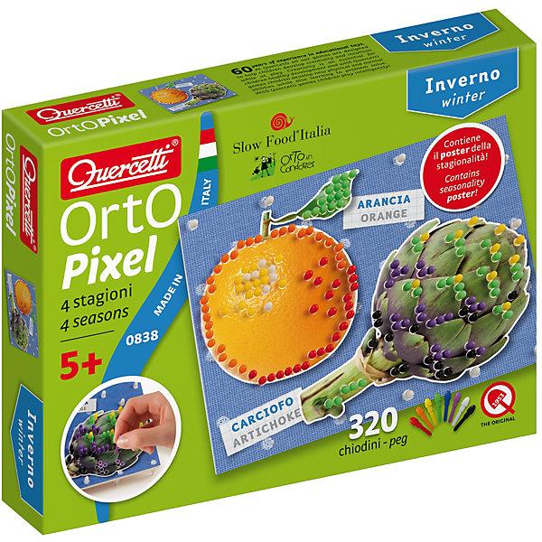 Пиксельная мозаика Зима, QuercettiМозаика<br>Пиксельная мозаика Зима, Quercetti (Кверсетти).<br><br>Характеристики:<br><br>- В наборе: 320 деталей 8-ми цветов, 6 рисунков, основа (наборная доска), альбом, плакат<br>- Цвета: красный, оранжевый, желтый, зеленый, синий, сиреневый, белый, черный<br>- Материал: безопасный пластик, окрашенный нетоксичными красками<br>- Упаковка: картонная коробка<br>- Размер упаковки: 17 х 22 х 4 см.<br><br>Пиксельная мозаика «Зима» от Quercetti (Кверсетти) – это творческий набор для создания рисунков с помощью уникальных крошечных деталей-гвоздиков. Он в развлекательной форме расскажет вашему ребенку о том, какие овощи и фрукты растут в средиземноморской климатической зоне даже зимой. Нужно просто выбрать понравившееся изображение, положить его на основу и можно начинать собирать мозаику! Ребенку нужно находить подходящие по цвету детали-гвоздики и вставить их в отверстия. Кончики элементов надежно фиксируются в основе. Собирание мозаики развивает у детей цветовосприятие, творческие способности, внимание, усидчивость и мелкую моторику.<br><br>Пиксельную мозаику Зима, Quercetti (Кверсетти) можно купить в нашем интернет-магазине.<br>Ширина мм: 220; Глубина мм: 36; Высота мм: 170; Вес г: 251; Возраст от месяцев: 60; Возраст до месяцев: 2147483647; Пол: Унисекс; Возраст: Детский; SKU: 5140057;