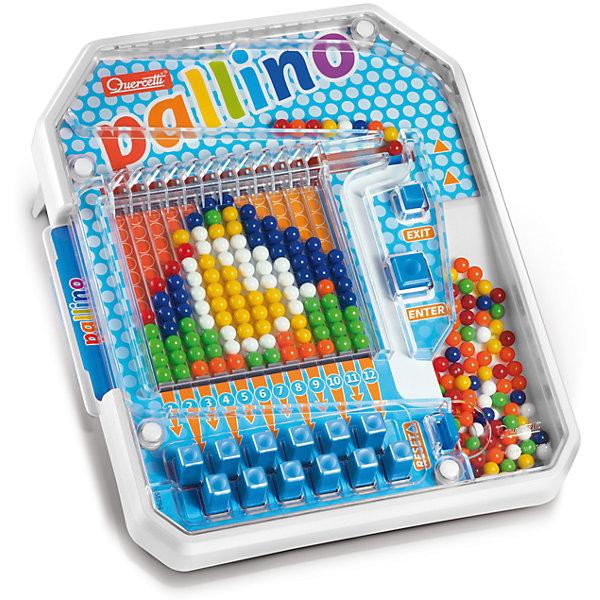 Настольная игра Паллино, QuercettiМозаика<br>Настольная игра Паллино, Quercetti (Кверсетти).<br><br>Характеристики:<br><br>- В наборе: игровое поле с разноцветными шариками внутри, 6 карточек с заданиями, инструкция<br>- Материал: безопасный пластик, окрашенный нетоксичными красками<br>- Упаковка: картонная коробка с ручкой<br>- Размер упаковки: 42 х 35,5 х 7 см.<br>- Вес: 1,2 кг.<br><br>Увлекательная настольная игра Паллино – это уникальная механическая мозаика, в которой узоры собираются последовательно из разноцветных шариков. Сначала шарик закатывается в «бункер» и надо определить, подходит ли он для установки в какой-либо столбик (по узору) или нет. Затем кнопками Enter и Exit выбирается, куда покатится шарик – дальше к столбикам или вернётся к остальным, то есть выкатится в сторону «выхода». Нижние 12 кнопок определяют, в какой именно столбик попадет выбранный шарик. После того, как ребенок все правильно рассчитал, нужно нажать кнопку «Enter», и выбранный шарик покатится прямо в нужный столбик. Если по ошибке шарик попал не в тот столбик, то придётся сбрасывать – «открыть» все рычажки, поставив верхний так, чтобы закрыть проход наверх, наклонить игровое поле и тогда шарики выкатятся в направлении Reset. После сборки всей картинки можно освободить место для нового узора – картинка сбрасывается последовательно по одной колонке. Игра Паллино развивает фантазию, образное мышление и воображение, а также цветовое восприятие и слаженность движений. Игра изготовлена из высококачественного пластика и окрашена нетоксичными гипоаллергенными красками.<br><br>Настольную игру Паллино, Quercetti (Кверсетти) можно купить в нашем интернет-магазине.<br>Ширина мм: 420; Глубина мм: 70; Высота мм: 360; Вес г: 1199; Возраст от месяцев: 48; Возраст до месяцев: 2147483647; Пол: Унисекс; Возраст: Детский; SKU: 5140064;
