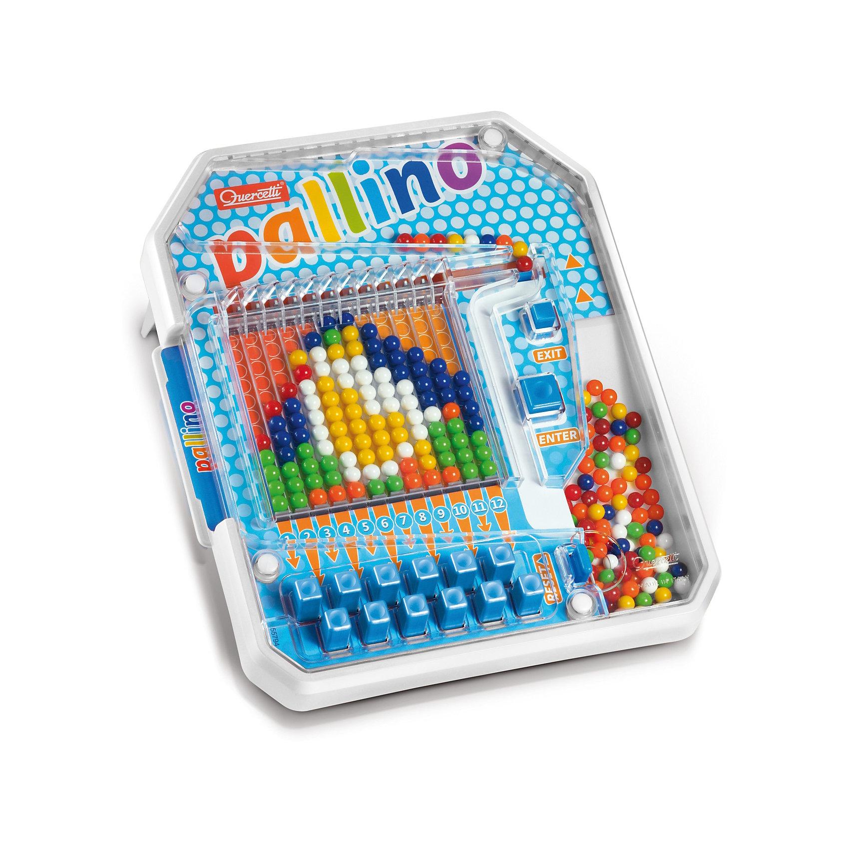 Настольная игра Паллино, QuercettiИгры для развлечений<br>Настольная игра Паллино, Quercetti (Кверсетти).<br><br>Характеристики:<br><br>- В наборе: игровое поле с разноцветными шариками внутри, 6 карточек с заданиями, инструкция<br>- Материал: безопасный пластик, окрашенный нетоксичными красками<br>- Упаковка: картонная коробка с ручкой<br>- Размер упаковки: 42 х 35,5 х 7 см.<br>- Вес: 1,2 кг.<br><br>Увлекательная настольная игра Паллино – это уникальная механическая мозаика, в которой узоры собираются последовательно из разноцветных шариков. Сначала шарик закатывается в «бункер» и надо определить, подходит ли он для установки в какой-либо столбик (по узору) или нет. Затем кнопками Enter и Exit выбирается, куда покатится шарик – дальше к столбикам или вернётся к остальным, то есть выкатится в сторону «выхода». Нижние 12 кнопок определяют, в какой именно столбик попадет выбранный шарик. После того, как ребенок все правильно рассчитал, нужно нажать кнопку «Enter», и выбранный шарик покатится прямо в нужный столбик. Если по ошибке шарик попал не в тот столбик, то придётся сбрасывать – «открыть» все рычажки, поставив верхний так, чтобы закрыть проход наверх, наклонить игровое поле и тогда шарики выкатятся в направлении Reset. После сборки всей картинки можно освободить место для нового узора – картинка сбрасывается последовательно по одной колонке. Игра Паллино развивает фантазию, образное мышление и воображение, а также цветовое восприятие и слаженность движений. Игра изготовлена из высококачественного пластика и окрашена нетоксичными гипоаллергенными красками.<br><br>Настольную игру Паллино, Quercetti (Кверсетти) можно купить в нашем интернет-магазине.<br><br>Ширина мм: 420<br>Глубина мм: 70<br>Высота мм: 360<br>Вес г: 1199<br>Возраст от месяцев: 48<br>Возраст до месяцев: 2147483647<br>Пол: Унисекс<br>Возраст: Детский<br>SKU: 5140064