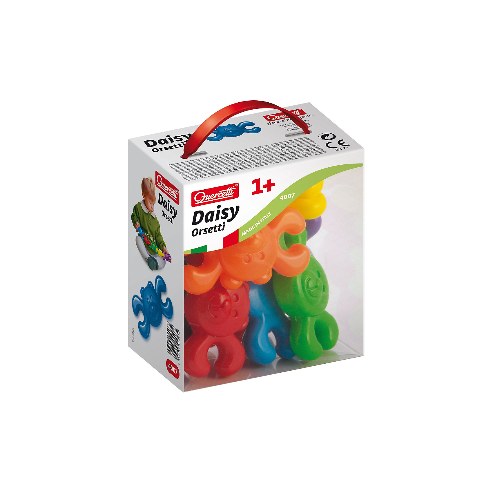 Конструктор Мишки, 8 деталей, QuercettiКонструктор Мишки, 8 деталей, Quercetti (Кверсетти).<br><br>Характеристики:<br><br>- В наборе: 10 фигурок мишек 6-ти различных цветов<br>- Материал: высококачественный пластик, окрашенный нетоксичными красками<br>- Упаковка: картонная коробка с ручкой<br>- Размер упаковки: 14х16х9 см.<br>- Вес: 200 гр.<br><br>Конструктор Мишки от Quercetti (Кверсетти) принесет множество позитивный эмоций вашему малышу. Яркие цветные детали в виде улыбающихся мишек привлекут внимание ребенка, а легкий вес позволит играть с ними очень долго. Все детали соединяются между собой при помощи универсальных креплений, позволяя малышу построить свою собственную конструкцию или цепочку. С помощью этого простейшего конструктора ваш малыш научится не только соединять детали, но и сортировать их по цвету. Удобные крупные детали безопасны для малышей и легко моются. Конструктор «Мишки» идеально подходит для развития мелкой моторики рук, тактильных ощущений и цветовосприятия, укрепляет и развивает координацию движений.<br><br>Конструктор Мишки, 8 деталей, Quercetti (Кверсетти) можно купить в нашем интернет-магазине.<br><br>Ширина мм: 140<br>Глубина мм: 90<br>Высота мм: 160<br>Вес г: 183<br>Возраст от месяцев: 12<br>Возраст до месяцев: 2147483647<br>Пол: Унисекс<br>Возраст: Детский<br>SKU: 5140068