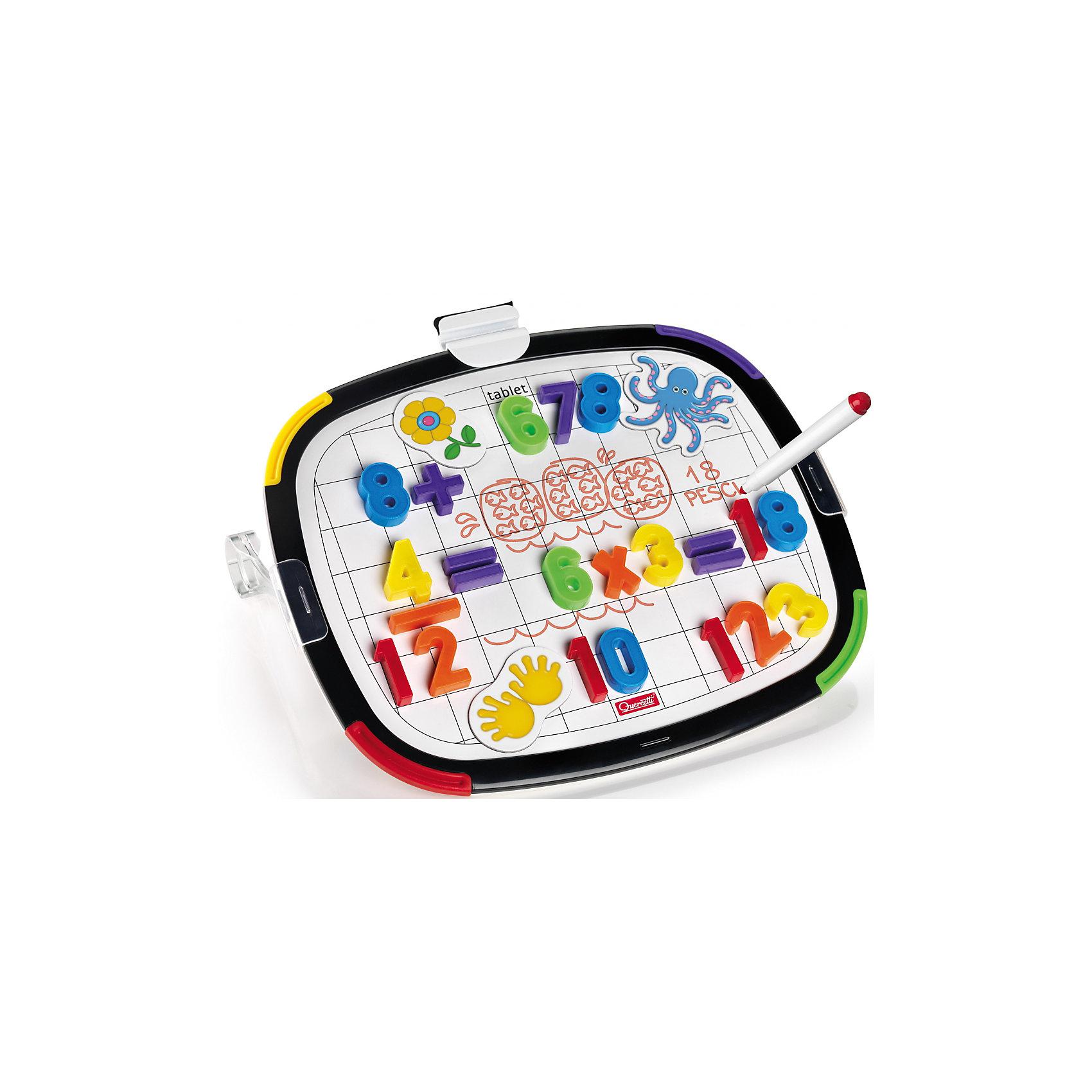 Магнитная доска из 48 элементов и 10 карточек, QuercettiИгры для дошкольников<br>Магнитная доска из 48 элементов и 10 карточек, Quercetti (Кверсетти).<br><br>Характеристики:<br><br>- В наборе: двусторонняя магнитная доска, 48 различных цифр и математических знаков, 10 магнитных карточек, маркер для рисования, губка для стирания маркера, 2 подставки для доски<br>- Размер доски: 32 х 28 х 9,9 см.<br>- Материал: высококачественный пластик<br>- Упаковка: картонная коробка с ручкой<br>- Размер упаковки: 39 х 29 х 6 см.<br>- Вес: 1390 гр.<br><br>Двусторонняя магнитная доска Quercetti (Кверсетти) позволит вашему малышу в игровой форме изучить математику. Яркие магнитики с животными, разноцветные цифры и математические знаки подарят веселья во время выполнения упражнений на сложение, вычитание и деление. На другой стороне доски – белая поверхность с крупной клеткой, на которой ребенок сможет писать и рисовать маркером. Магнитная доска со скругленными углами изготовлена из высококачественного пластика, углы защищены от падения цветными резиновыми вставками.<br><br>Магнитную доску из 48 элементов и 10 карточек, Quercetti (Кверсетти) можно купить в нашем интернет-магазине.<br><br>Ширина мм: 390<br>Глубина мм: 60<br>Высота мм: 290<br>Вес г: 1128<br>Возраст от месяцев: 48<br>Возраст до месяцев: 2147483647<br>Пол: Унисекс<br>Возраст: Детский<br>SKU: 5140071
