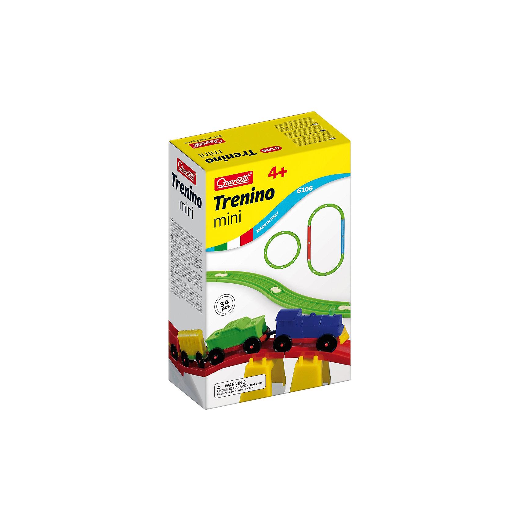Конструктор Ж/Д мини, 34 детали, QuercettiПластмассовые конструкторы<br>Конструктор Ж/Д мини, 34 детали, Quercetti (Кверсетти).<br><br>Характеристики:<br><br>- В наборе: 34 элемента<br>- Материал: высококачественный пластик, окрашенный нетоксичными красками<br>- Упаковка: картонная коробка<br>- Размер упаковки: 18 х 29 х 9 см.<br>- Вес: 410 гр.<br><br>Конструктор Quercetti Ж/Д мини непременно понравится вашему малышу. В комплект входят разноцветные прямые и дугообразные рельсы, которые нужно соединить вместе различным образом, а также маленький паровозик с тремя разными вагончиками. Ваш малыш проведет много времени, играя с получившейся железной дорогой. Яркие детали конструктора выполнены из мягкого, не вызывающего аллергии пластика, который абсолютно безопасен для детей. Углы деталей скруглены. Сборка конструктора тренирует воображение, мышление, внимательность, память, зрительное и тактильное восприятие детей, а также мелкую моторику.<br><br>Конструктор Ж/Д мини, 34 детали, Quercetti (Кверсетти) можно купить в нашем интернет-магазине.<br><br>Ширина мм: 180<br>Глубина мм: 90<br>Высота мм: 290<br>Вес г: 414<br>Возраст от месяцев: 48<br>Возраст до месяцев: 2147483647<br>Пол: Мужской<br>Возраст: Детский<br>SKU: 5140072
