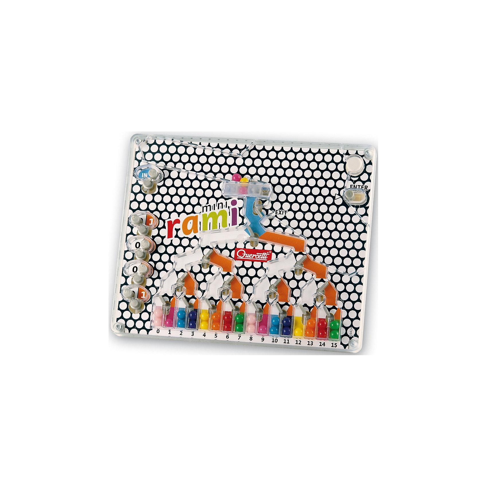 Настольная игра Распредели цвета мини, QuercettiИгры для развлечений<br>Настольная игра Распредели цвета мини, Quercetti (Кверсетти).<br><br>Характеристики:<br><br>- В наборе: игровое поле с разноцветными шариками внутри<br>- Материал: безопасный пластик, окрашенный нетоксичными красками<br>- Упаковка: картонная коробка<br>- Размер упаковки: 23 х 20 х 5 см.<br><br>Настольная игра Распредели цвета мини от Quercetti (Кверсетти) - это интересная и увлекательная игра, уменьшенный аналог игры Рами. Цель игры: провести цветные шарики на игровом поле через все ответвления и препятствия, переключая рычаги, таким образом, чтобы они попадали в столбики с соответствующим цветом. На игровом поле расположены 16 цветных пронумерованных столбиков - от 0 до 15. Каждому соответствует 2 шарика такого же цвета. Перед началом игры нужно пересыпать шарики в верхнюю часть игровой подставки, просто наклонив ее. Управляющие рычаги – ENTER (запускает шарик), EXIT (сбрасывает шарики). Четыре рычага слева необходимы для распределения шариков по столбикам. Сдвигая эти рычаги вправо или влево, открывается цифра - 0 или 1 на цветном фоне. Ориентируясь по этой цифре или цвету фона, нужно распределить все шарики по своим столбикам. Настольная игра Распредели цвета мини развивает зрительную моторику и память, координацию, логику, ловкость, реакцию и самоконтроль.<br><br>Настольную игру Распредели цвета мини, Quercetti (Кверсетти) можно купить в нашем интернет-магазине.<br><br>Ширина мм: 230<br>Глубина мм: 50<br>Высота мм: 200<br>Вес г: 317<br>Возраст от месяцев: 60<br>Возраст до месяцев: 2147483647<br>Пол: Унисекс<br>Возраст: Детский<br>SKU: 5140080
