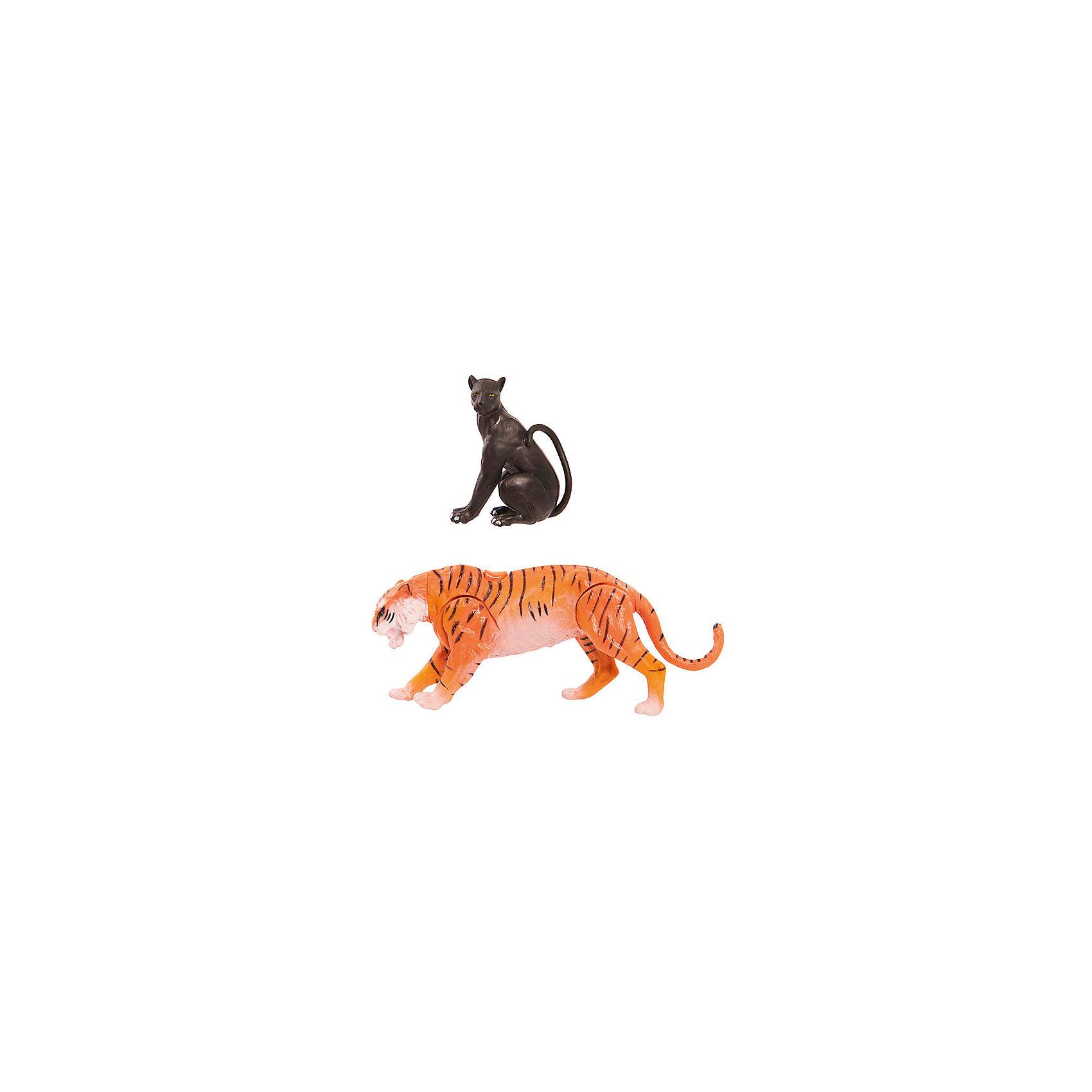 Фигурки Книга Джунглей - Шерхан и БагираМир животных<br>Характеристики товара:<br><br>- цвет: разноцветный;<br>- материал: пластик;<br>- размер упаковки: 20х8х21см;<br>- вес: 230 г;<br>- комплект: 2 фигурки.<br><br>Играть с фигурками из любимого фильма - вдвойне интереснее! Фигурки героев Книги Джунглей очень красивые, они хорошо детализированы. Каждая фигурка отлично выполнена, поэтому она станет желанным подарком для ребенка. Такое изделие отлично тренирует у ребенка разные навыки: играя с фигурками, ребенок развивает мелкую моторику, цветовосприятие, внимание, воображение и творческое мышление. В наборе - 2 фигурки.<br>Из этих фигурок можно собрать целую коллекцию! Изделие произведено из высококачественного материала, безопасного для детей.<br><br>Игрушку Тигр от бренда Jungle Book можно купить в нашем интернет-магазине.<br><br>Ширина мм: 210<br>Глубина мм: 200<br>Высота мм: 80<br>Вес г: 230<br>Возраст от месяцев: 36<br>Возраст до месяцев: 2147483647<br>Пол: Унисекс<br>Возраст: Детский<br>SKU: 5140206
