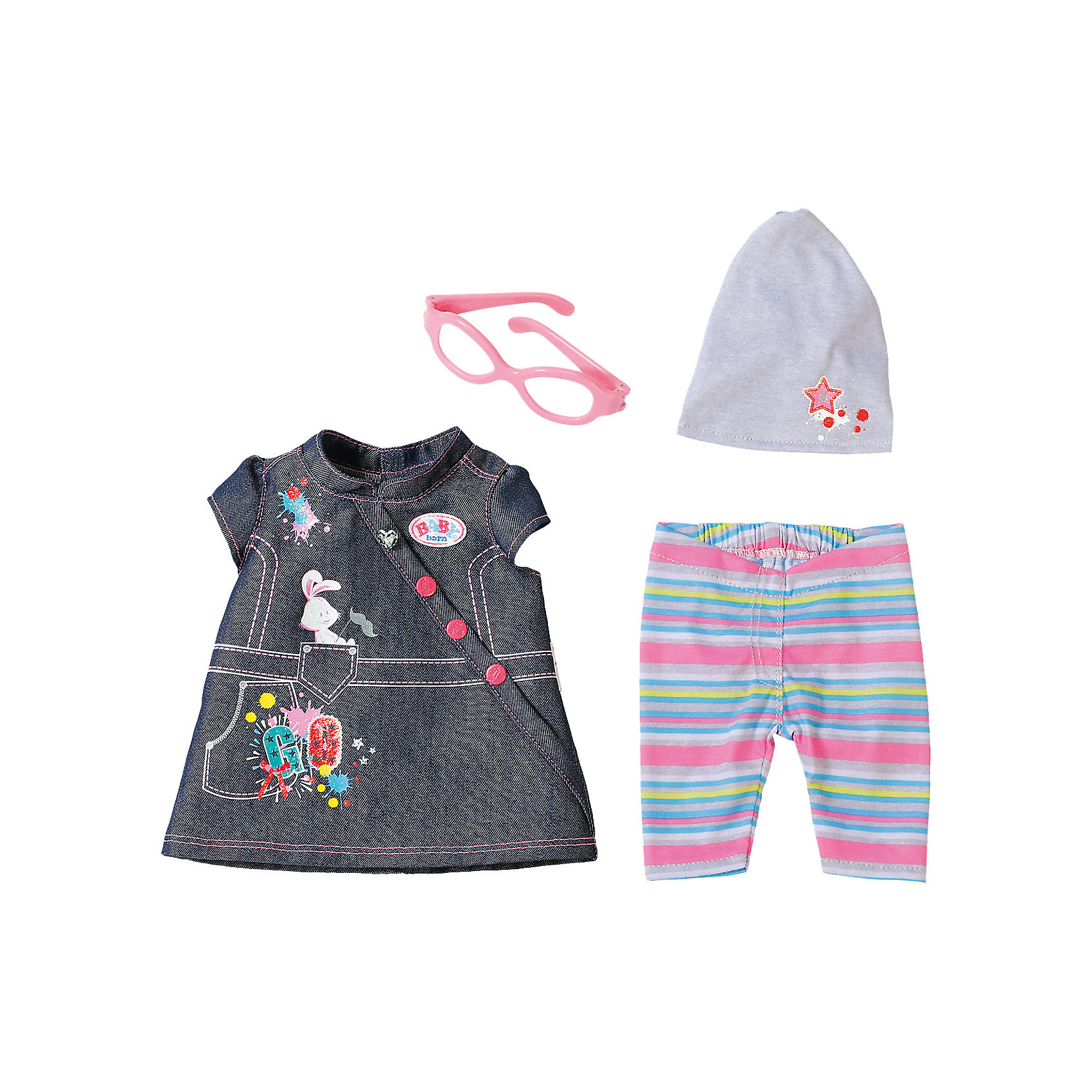 Одежда Джинсовая, BABY born, разноцветнаяБренды кукол<br>Характеристики товара:<br><br>- цвет: разноцветный;<br>- материал: тестиль;<br>- комплектация: туника, легинсы, шапка, очки;<br>- размер упаковки: 37х8х28 см.<br><br>Кукольная одежда – мечта всех девочек, обожающих играть в дочки-матери! Куклы Бэби Борн – абсолютные фавориты среди детских игрушек. Одно из преимуществ моделей – возможность переодевать куклу на свое усмотрение. Такой набор одежды – интересный и необычный вариант разнообразить игры с куклой. Комплект представлен в новой коллекции одежды для куклы Бэби борн. Вещи, туника, легинсы, шапка, очки, очень модно и нарядно смотрятся. Материалы, использованные при изготовлении изделия, абсолютно безопасны и полностью отвечают международным требованиям по качеству детских товаров.<br><br>Одежду Джинсовую, BABY born, можно купить в нашем интернет-магазине.<br><br>Ширина мм: 366<br>Глубина мм: 281<br>Высота мм: 81<br>Вес г: 284<br>Возраст от месяцев: 36<br>Возраст до месяцев: 2147483647<br>Пол: Женский<br>Возраст: Детский<br>SKU: 5140224