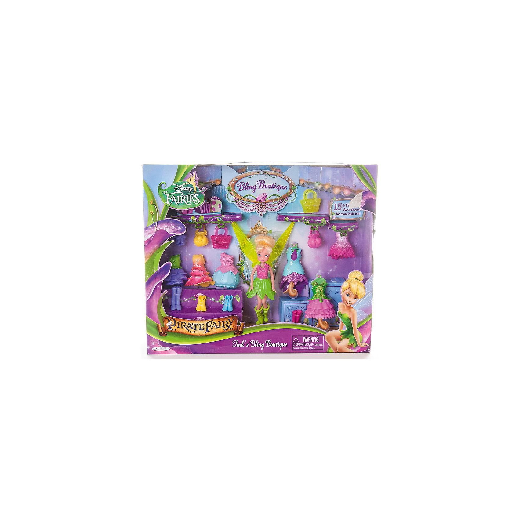 Игровой набор Disney Fairy Бутик с мини-куклой. Фея Динь-ДиньХарактеристики товара:<br><br>- цвет: разноцветный;<br>- материал: пластик;<br>- подвижные части тела;<br>- комплектация: кукла, аксессуары;<br>- размер упаковки: 25х6х30 см.<br>- размер куклы: 11 см.<br><br>Эти симпатичные куклы в виде фей из диснеевского мультфильма «Тайны пиратского острова» от известного бренда не оставят девочку равнодушной! Какая девочка сможет отказаться поиграть с куклами, которых можно переодевать благодаря набору аксессуаров?! В комплект входят наряды и аксессуары. Игрушка очень качественно выполнена, поэтому она станет замечательным подарком ребенку. <br>Продается набор в красивой удобной упаковке. Изделие произведено из высококачественного материала, безопасного для детей.<br><br>Игровой набор «Бутик», с аксессуарами, зеленый, Феи Дисней, можно купить в нашем интернет-магазине.<br><br>Ширина мм: 305<br>Глубина мм: 255<br>Высота мм: 60<br>Вес г: 435<br>Возраст от месяцев: 36<br>Возраст до месяцев: 2147483647<br>Пол: Женский<br>Возраст: Детский<br>SKU: 5140248