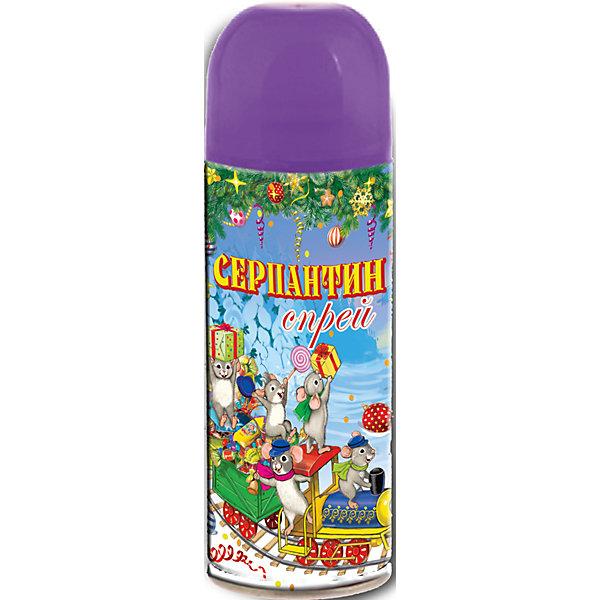 Серпантин синтетический фиолетовый в спрее, 250млЁлочные игрушки<br>Серпантин синтетический ФИОЛЕТОВЫЙ в спрее арт.42383 для новогоднего декорирования(изобутан, тетрафторэтан, каолин, кальций карбонат, вода, глицерин, красители) / 5,2х17/ 250мл<br><br>Ширина мм: 170<br>Глубина мм: 50<br>Высота мм: 50<br>Вес г: 123<br>Возраст от месяцев: 60<br>Возраст до месяцев: 600<br>Пол: Унисекс<br>Возраст: Детский<br>SKU: 5144571