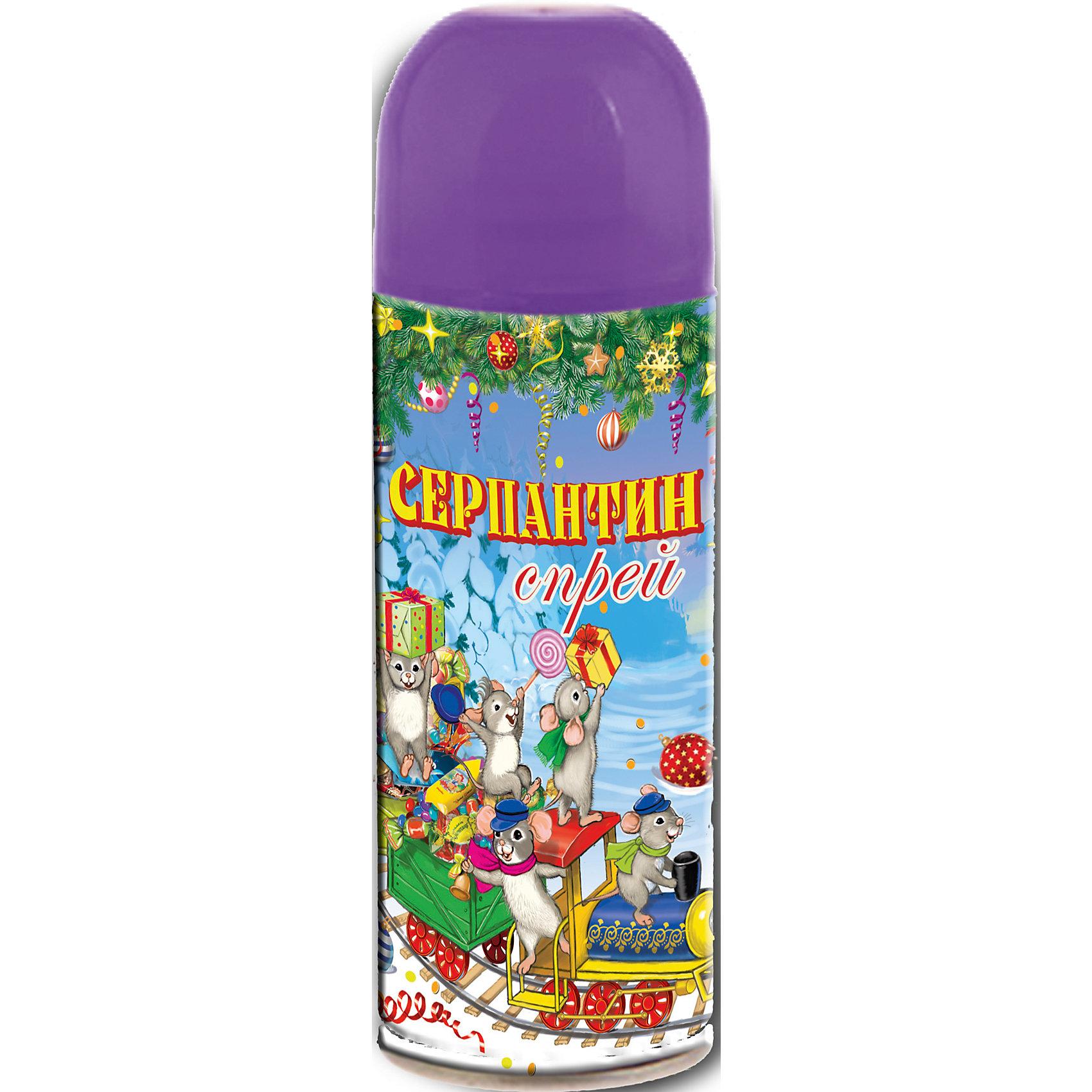 Серпантин синтетический фиолетовый в спрее, 250млВсё для праздника<br>Серпантин синтетический ФИОЛЕТОВЫЙ в спрее арт.42383 для новогоднего декорирования(изобутан, тетрафторэтан, каолин, кальций карбонат, вода, глицерин, красители) / 5,2х17/ 250мл<br><br>Ширина мм: 170<br>Глубина мм: 50<br>Высота мм: 50<br>Вес г: 123<br>Возраст от месяцев: 60<br>Возраст до месяцев: 600<br>Пол: Унисекс<br>Возраст: Детский<br>SKU: 5144571