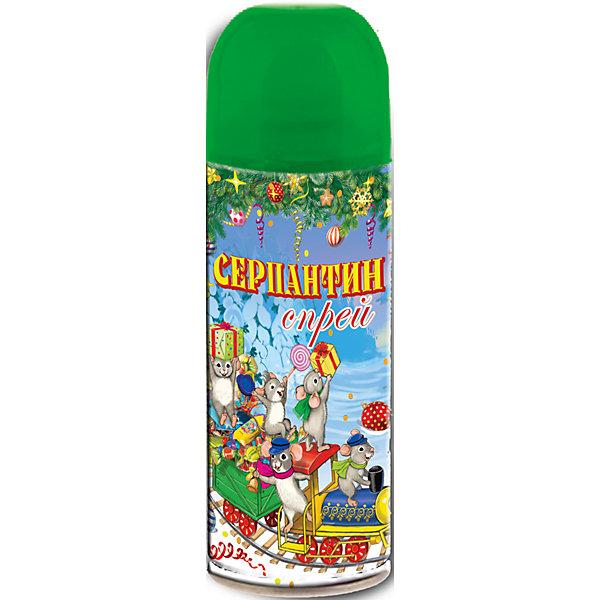 Серпантин синтетический зеленый в спрее, 250млЁлочные игрушки<br>Серпантин синтетический ЗЕЛЕНЫЙ в спрее арт.42384 для новогоднего декорирования(изобутан, тетрафторэтан, каолин, кальций карбонат, вода, глицерин, красители) / 5,2х17/ 250мл<br><br>Ширина мм: 170<br>Глубина мм: 50<br>Высота мм: 50<br>Вес г: 123<br>Возраст от месяцев: 60<br>Возраст до месяцев: 600<br>Пол: Унисекс<br>Возраст: Детский<br>SKU: 5144572
