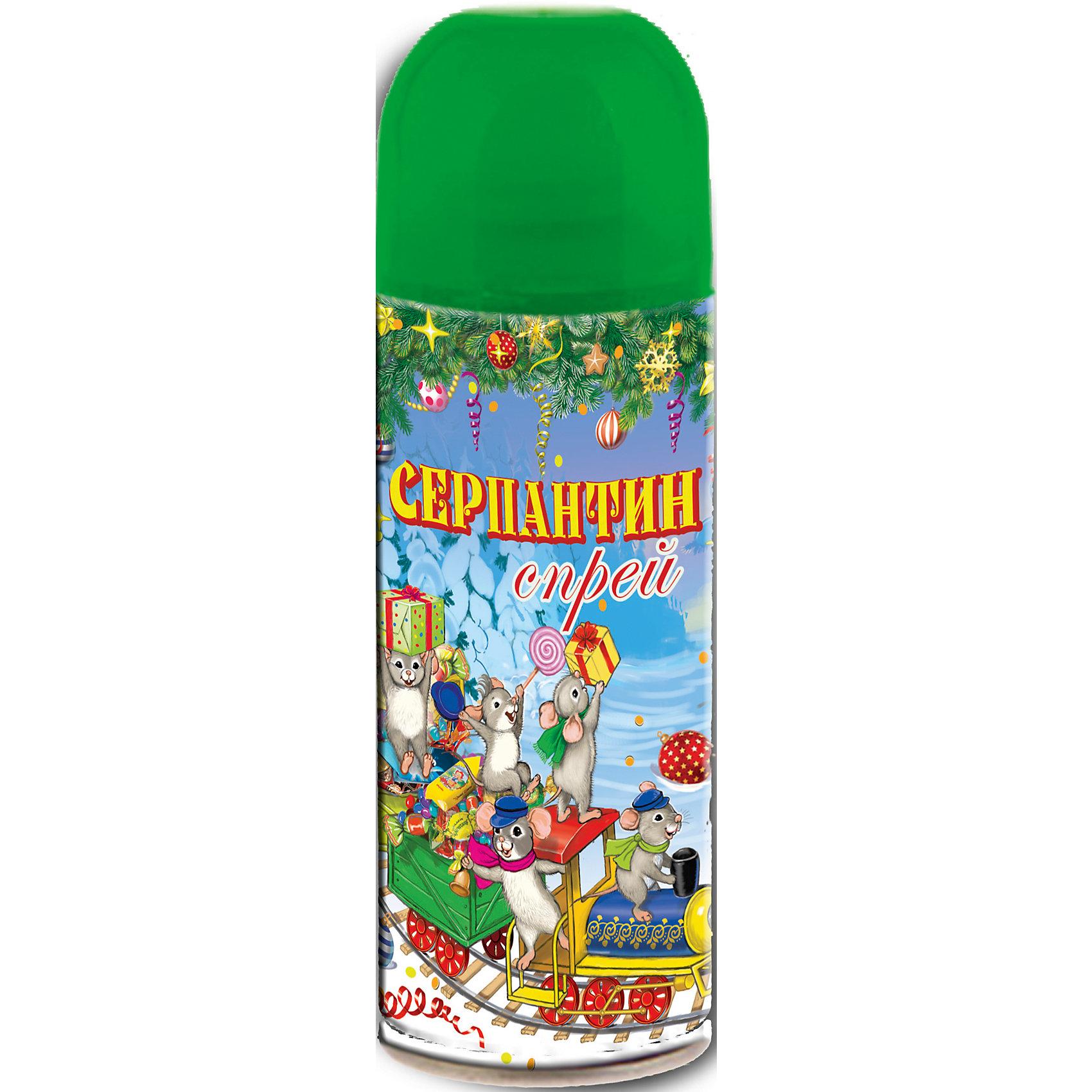 Серпантин синтетический зеленый в спрее, 250млВсё для праздника<br>Серпантин синтетический ЗЕЛЕНЫЙ в спрее арт.42384 для новогоднего декорирования(изобутан, тетрафторэтан, каолин, кальций карбонат, вода, глицерин, красители) / 5,2х17/ 250мл<br><br>Ширина мм: 170<br>Глубина мм: 50<br>Высота мм: 50<br>Вес г: 123<br>Возраст от месяцев: 60<br>Возраст до месяцев: 600<br>Пол: Унисекс<br>Возраст: Детский<br>SKU: 5144572