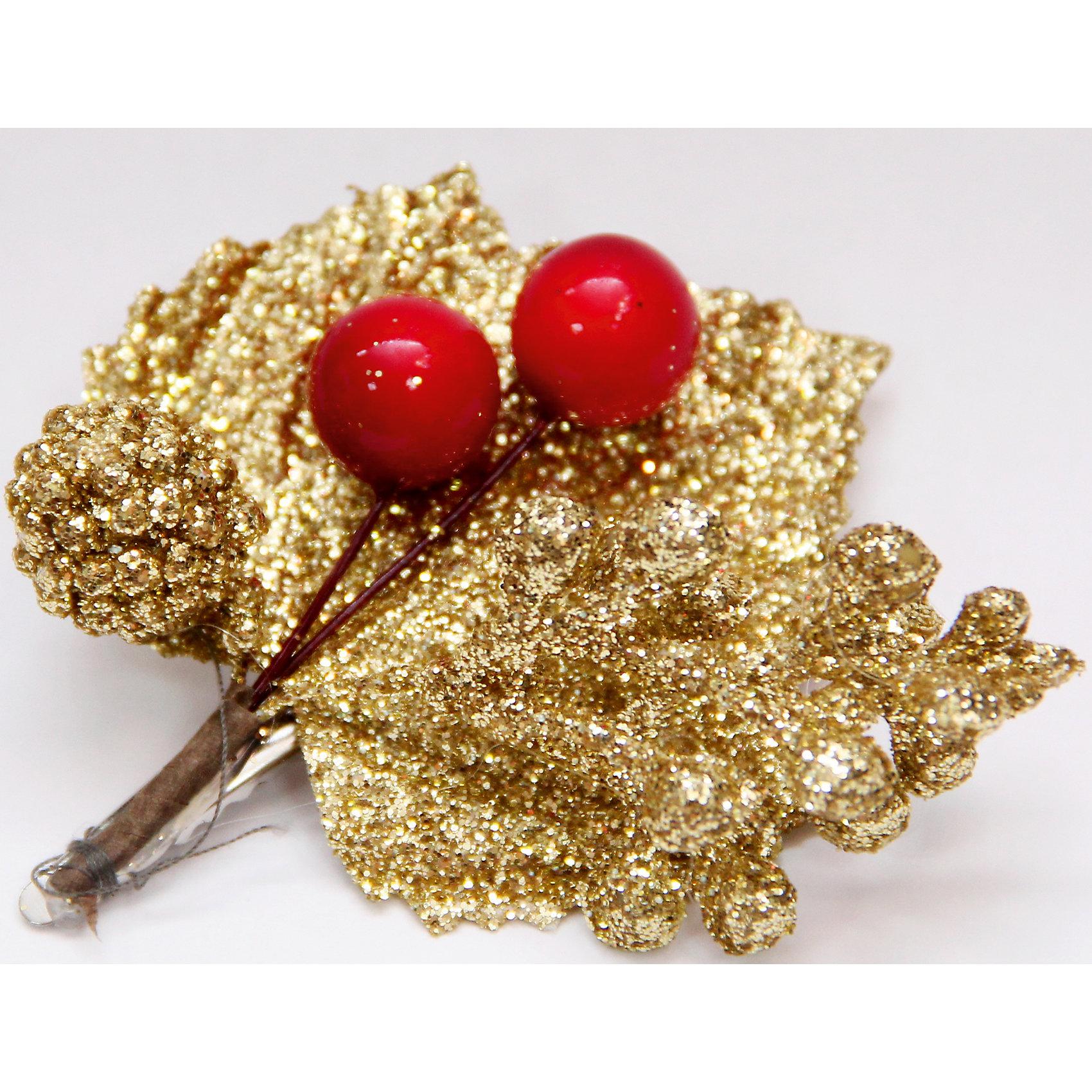 Украшение новогоднее Золотой лепесток с ягодами из пвх на клипсеЁлочные игрушки<br>Украшение новогоднее Лепесток Золотой с Ягодами арт.42507 из пвх на клипсе / 7x8<br><br>Ширина мм: 70<br>Глубина мм: 80<br>Высота мм: 10<br>Вес г: 11<br>Возраст от месяцев: 60<br>Возраст до месяцев: 600<br>Пол: Унисекс<br>Возраст: Детский<br>SKU: 5144583