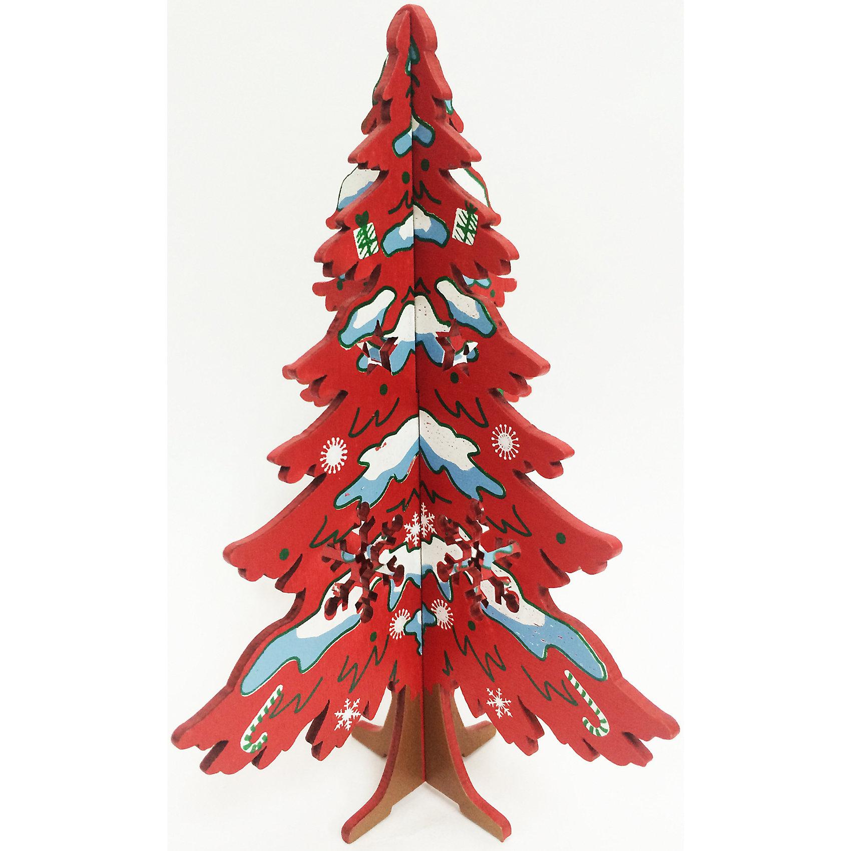 Феникс-Презент Новогодняя ель из МДФ Красная ёлочка со снежинкой (14,5 см) феникс презент
