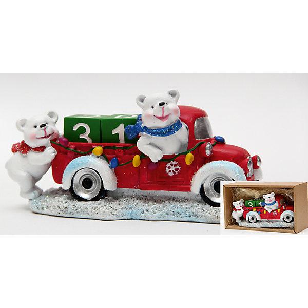 Календарь новогодний Северный мишка на машине из полирезины  16х9х8