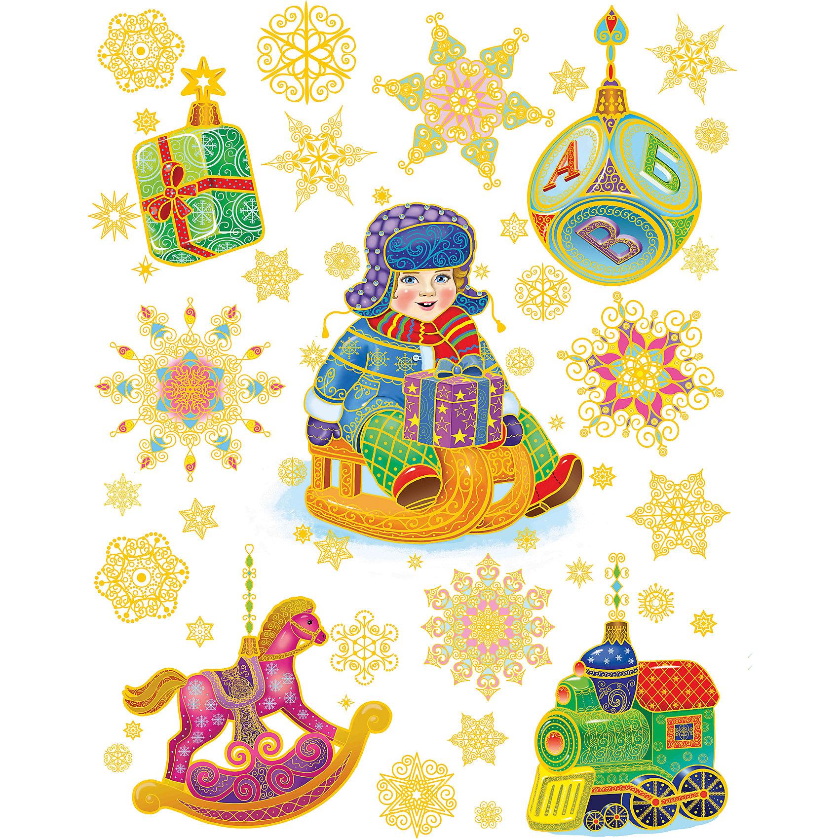 Феникс-Презент Новогоднее оконное украшение  Мальчик на санках и игрушки (30*38 см из ПВХ пленки ) новогоднее оконное украшение феникс презент обезьянки
