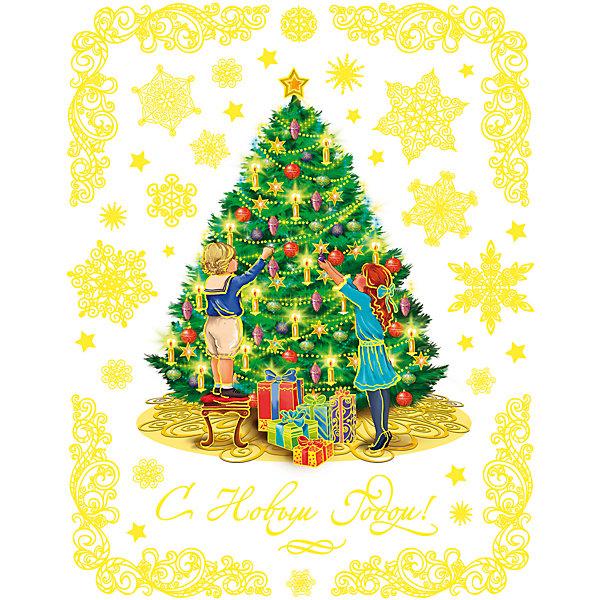 Новогоднее оконное украшение Дети у елки (30*38 см из ПВХ пленки)Новогодние наклейки на окна<br>Новогоднее оконное украш. арт.34333/72 Дети у елки (30*38 см, из ПВХ пленки, декорировано глиттером; крепится к гладкой поверхности стекла посредством статического эффекта) арт.34333<br><br>Ширина мм: 300<br>Глубина мм: 380<br>Высота мм: 1<br>Вес г: 73<br>Возраст от месяцев: 60<br>Возраст до месяцев: 600<br>Пол: Унисекс<br>Возраст: Детский<br>SKU: 5144648