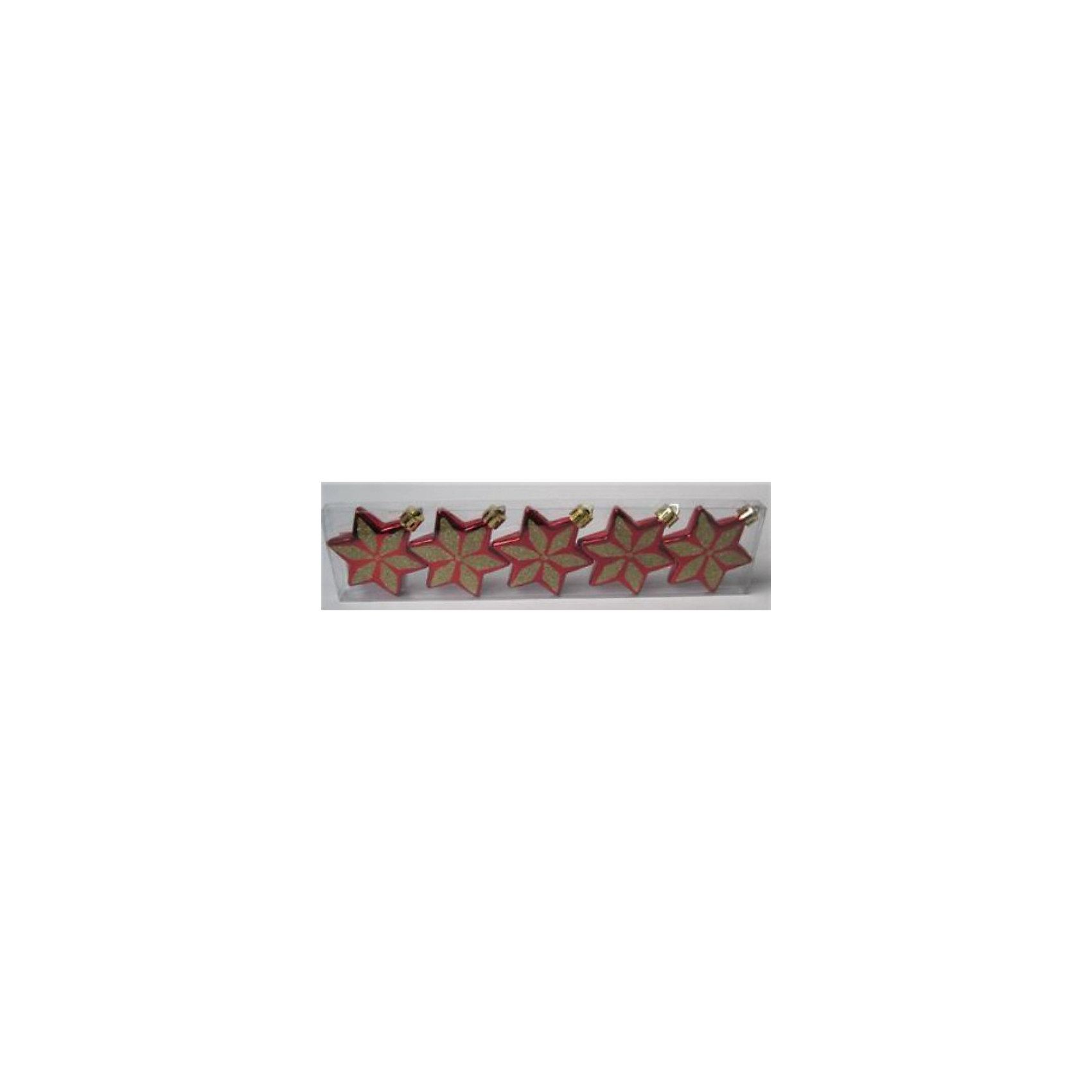 Феникс-Презент Новогоднее подвесное украшение - набор 5 штук (пластик красный) новогоднее подвесное украшение собака ф21 1716