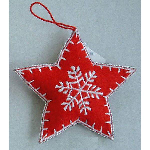 Новогоднее подвесное украшение Звезда 8смЁлочные игрушки<br>Новогоднее подвесное украшение Звезда из полиэстра 8см. арт.25268<br><br>Ширина мм: 80<br>Глубина мм: 80<br>Высота мм: 20<br>Вес г: 4<br>Возраст от месяцев: 60<br>Возраст до месяцев: 600<br>Пол: Унисекс<br>Возраст: Детский<br>SKU: 5144669