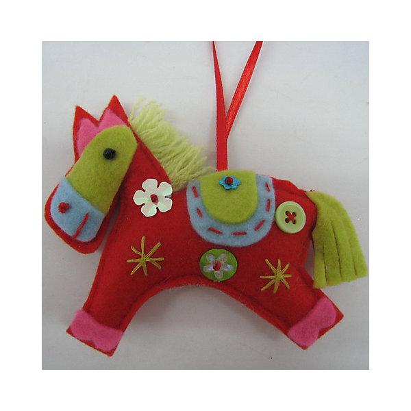 Украшение Лошадка 11 смЁлочные игрушки<br>Новогоднее подвесное украшение из ткани-25349 (полиэстер) Лошадка 11 см<br><br>Ширина мм: 100<br>Глубина мм: 40<br>Высота мм: 5<br>Вес г: 16<br>Возраст от месяцев: 60<br>Возраст до месяцев: 600<br>Пол: Унисекс<br>Возраст: Детский<br>SKU: 5144678