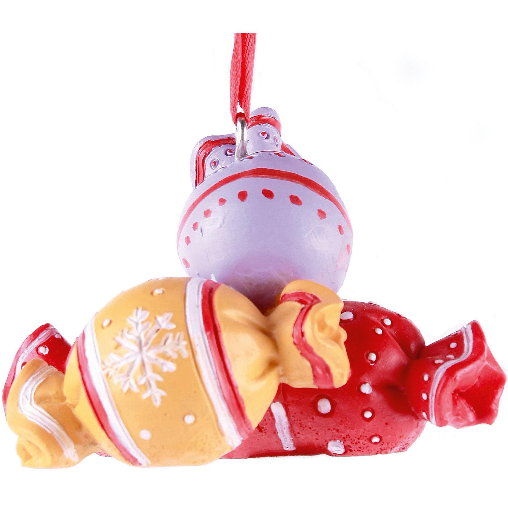 Феникс-Презент Новогоднее подвесное украшение Конфеты (8,3*5*5 см, из полирезины) подсвечник декоративный феникс презент цвет розовый 8 5 х 8 5 х 7 5 см