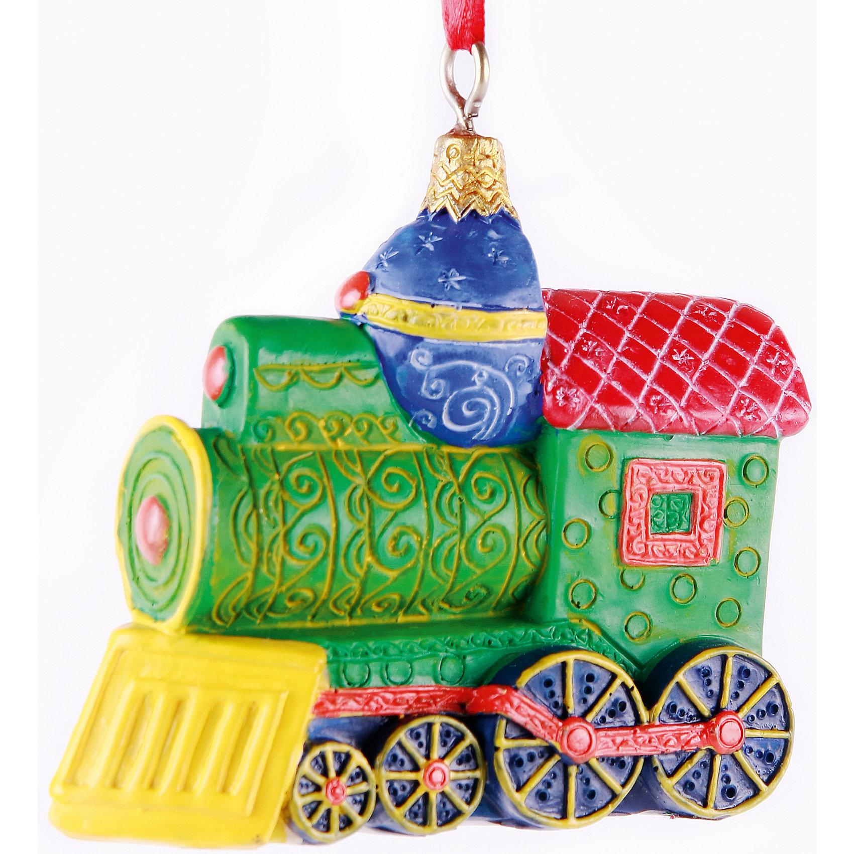 Подвесное украшение Маленький паровозикХарактеристики товара:<br><br>• цвет: разноцветный<br>• материал: полирезина<br>• размер: 7,8 х 3,2 х 7,5 см<br>• комплектация: 1 шт<br>• подарочная модель<br>• с подвесом<br>• страна изготовитель: Китай<br><br>Новогодний праздник невозможен без ёлочных украшений. Этот паровозик от бренда Феникс-Презент станет отличным подарком близким, друзьям или сотрудникам и украсит помещение в новогодние дни! Он отлично смотрится на ёлке и в интерьере.<br>Такие небольшие детали и создают полную праздничную картину наравне с <br>ёлкой и мишурой! Этот паровозик будет создавать праздничное настроение не один год! Изделие производится из качественных и проверенных материалов, которые безопасны для детей.<br><br>Подвесное украшение Маленький паровозик от бренда Феникс-Презент можно купить в нашем интернет-магазине.<br><br>Ширина мм: 78<br>Глубина мм: 32<br>Высота мм: 75<br>Вес г: 90<br>Возраст от месяцев: 60<br>Возраст до месяцев: 600<br>Пол: Унисекс<br>Возраст: Детский<br>SKU: 5144712