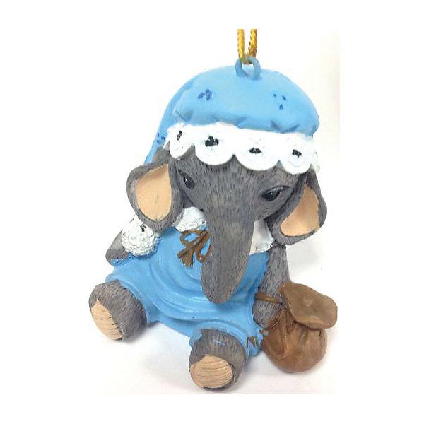Украшение Слоник в голубой шапочке 5,5*4,5*5,5 смЁлочные игрушки<br>Новогоднее подвесн. украш. Слоник в голубой шапочке арт.38308 (5.5*4.5*5.5см, из полирезины) / 5.5*4.5*5.5см арт.38308<br>Ширина мм: 60; Глубина мм: 50; Высота мм: 70; Вес г: 52; Возраст от месяцев: 60; Возраст до месяцев: 600; Пол: Унисекс; Возраст: Детский; SKU: 5144724;