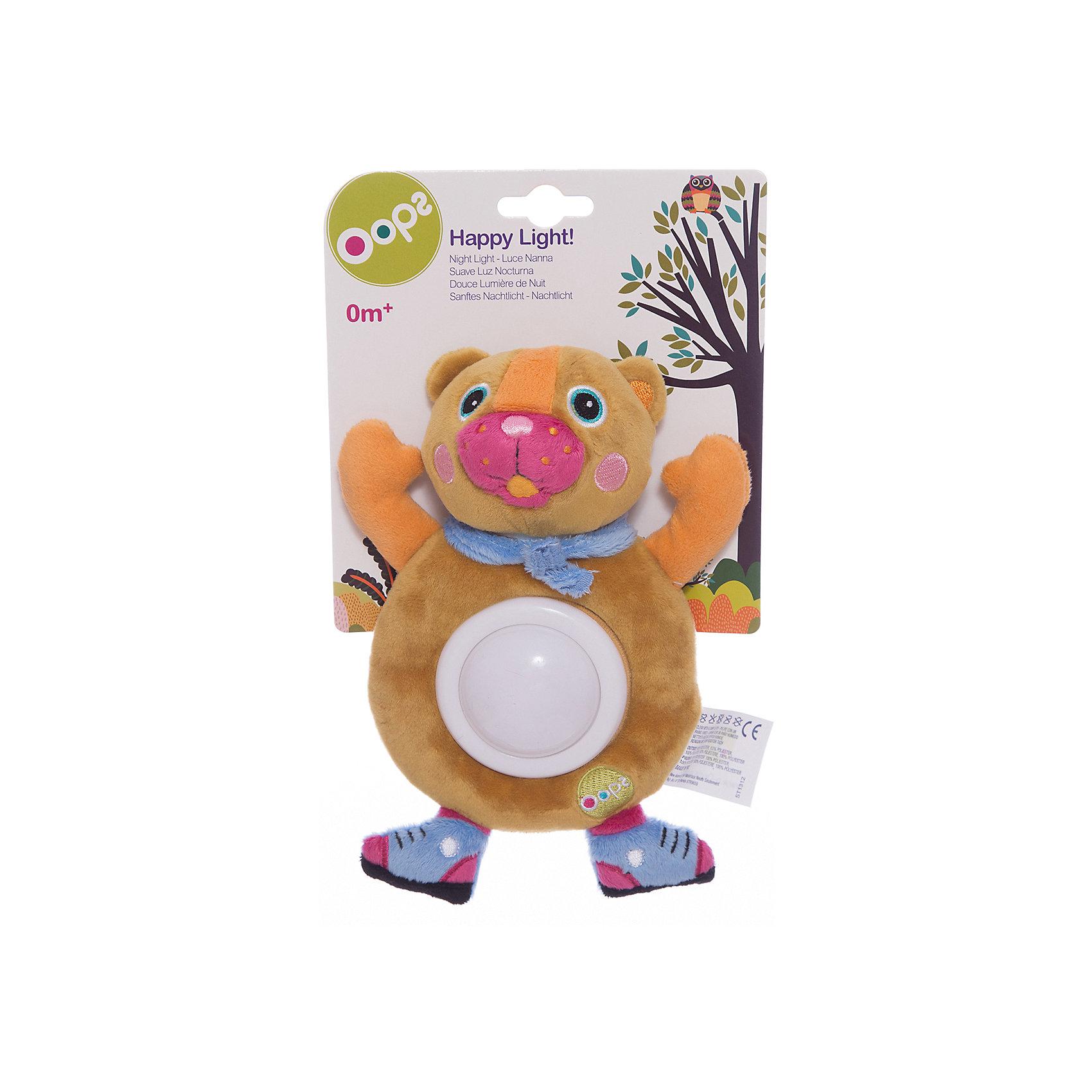 Игрушка-ночник Медвежонок, OopsЛампы, ночники, фонарики<br>Характеристики игрушки-ночника Медвежонок:<br><br>- тип ночника: детский<br>- год выпуска: 2015<br>- назначение: освещение детских комнат<br>- крепление: настольное<br>- количество ламп: 1 шт.<br>- материал плафона: пластик<br>- электропитание 2 ААА<br>- форм-фактор батареи: AAA (LR03)<br>- количество элементов питания: 2 шт.<br>- комплектация ночник: 3 батарейки АА<br>- размеры, ночника: - 20 * 16 * 4 см<br>- размер упаковки (дхшхв): 27 * 16 * 6 см<br>- вес в упаковке: 105 г<br>- производитель: Oops (Китай).<br>- необходимо докупить 2 батарейки напряжением 1,5V типа ААA (не входят в комплект).<br><br>Мягкая игрушка-ночник торговой марки Oops Медвежонок порадует Вашего малыша и поможет создать спокойную обстановку перед сном. <br>Игрушка-ночник выполнена из мягкого, приятного на ощупь текстильного материала, и имеет светильник из прочного пластика на животе, поэтому она не только разнообразит игры малыша днем, но и поможет крохе быстро заснуть ночью. Нажмите на животик игрушки - и светильник начнет светиться мягким светом. Ночник может менять цвета: от зеленого до красного, синего и желтого. Игрушка изготовлена из экологически чистых материалов, поэтому абсолютно безопасна для Вашего малыша. С таким ночником ребенку никогда не будет скучно. Яркие цвета и элементы будут способствовать развитию цветового и слухового восприятия, тактильных ощущений, моторики и мыслительной деятельности. С мягкой игрушкой-ночником торговой марки Oops Медвежонок Вашему ребенку никогда не будет скучно.<br>Красочный и практичный ночник-игрушка подойдет для малышей с рождения, и станет прекрасным подарком для родителей, ведь он поможет ему справиться с боязнью темноты, успокоит малыша, и сделает его сон крепким и здоровым.<br><br>Мягкую игрушку-ночник торговой марки Oops Медвежонок торговой    марки  Oops можно купить в нашем интернет-магазине.<br><br>Ширина мм: 160<br>Глубина мм: 60<br>Высота мм: 270<br>Вес г: 225<br>Возраст от мес
