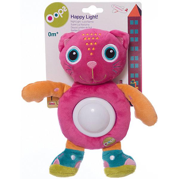 Игрушка-ночник Кошка, OopsДетские предметы интерьера<br>Характеристики игрушки-ночника Кошка:<br><br>- тип ночника: детский<br>- год выпуска: 2015<br>- назначение: освещение детских комнат<br>- крепление: настольное<br>- количество ламп: 1 шт.<br>- материал плафона: пластик<br>- тип выключателя: механический<br>- размеры: 20  * 25 * 6  см <br>- размер упаковки (дхшхв): 20* 18 * 5 см <br>- вес в упаковке: 110 г<br>- электропитание: 2 ААА<br>- форм-фактор батареи: AAA (LR03)<br>- количество элементов питания: 2 шт.<br>- комплектация ночник: 3 батарейки АА<br>- вес в упаковке: 105 г<br>- производитель: Oops (Китай).<br><br>Игрушка-ночник Кошка швейцарской торговой марки Oops (Упс)  - это очаровательная кошечка, которая будет охранять сон ребёнка, и освещать детскую комнату приятным мягким светом. Игрушка - ночник Кошка имеет яркий и стильный дизайн, выполнена в приятном сочетании разных расцветок тканей из высококачественных материалов. Приятная для тактильных ощущений игрушка, несомненно, понравится ребёнку. В ночное время её можно использовать в качестве ночника, который включается лёгким нажатие на животик кошечки и меняет цвет освещения от зеленого до красного, синего и желтого. Ребёнку будет интересно наблюдать за такими волшебными изменениями.<br><br>Игрушка-ночник Кошка торговой марки Oops (Упс)  торговой марки Oops можно купить в нашем интернет-магазине.<br>Ширина мм: 160; Глубина мм: 60; Высота мм: 270; Вес г: 225; Возраст от месяцев: 24; Возраст до месяцев: 60; Пол: Унисекс; Возраст: Детский; SKU: 5146697;