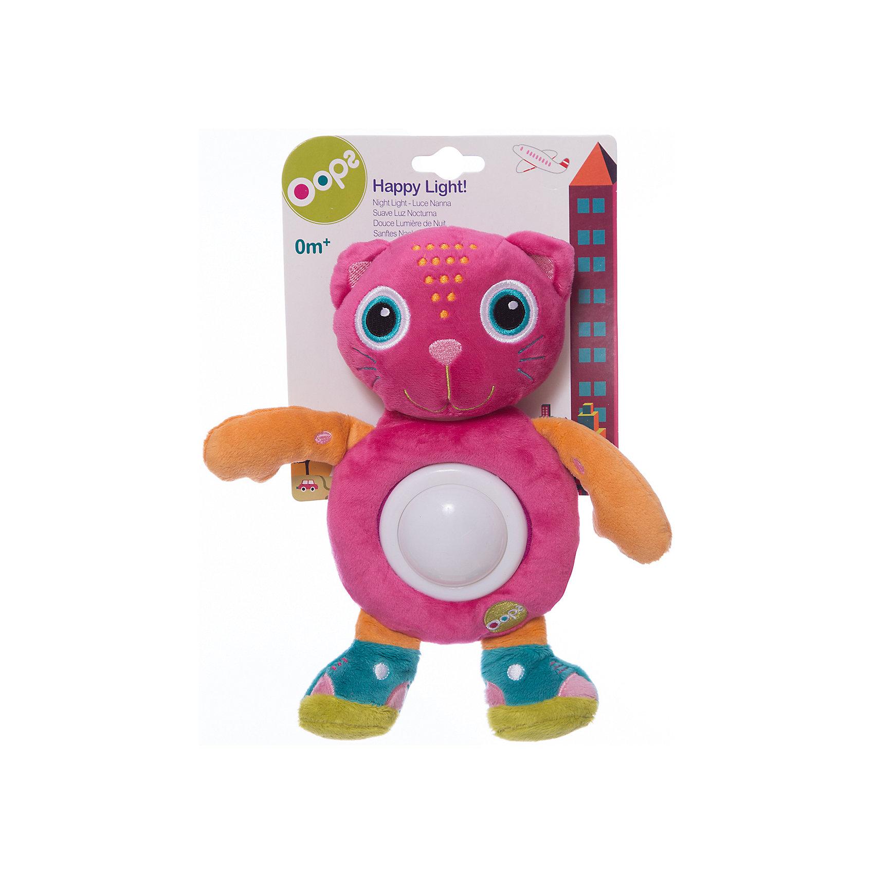 Игрушка-ночник Кошка, OopsНочники и проекторы<br>Характеристики игрушки-ночника Кошка:<br><br>- тип ночника: детский<br>- год выпуска: 2015<br>- назначение: освещение детских комнат<br>- крепление: настольное<br>- количество ламп: 1 шт.<br>- материал плафона: пластик<br>- тип выключателя: механический<br>- размеры: 20  * 25 * 6  см <br>- размер упаковки (дхшхв): 20* 18 * 5 см <br>- вес в упаковке: 110 г<br>- электропитание: 2 ААА<br>- форм-фактор батареи: AAA (LR03)<br>- количество элементов питания: 2 шт.<br>- комплектация ночник: 3 батарейки АА<br>- вес в упаковке: 105 г<br>- производитель: Oops (Китай).<br><br>Игрушка-ночник Кошка швейцарской торговой марки Oops (Упс)  - это очаровательная кошечка, которая будет охранять сон ребёнка, и освещать детскую комнату приятным мягким светом. Игрушка - ночник Кошка имеет яркий и стильный дизайн, выполнена в приятном сочетании разных расцветок тканей из высококачественных материалов. Приятная для тактильных ощущений игрушка, несомненно, понравится ребёнку. В ночное время её можно использовать в качестве ночника, который включается лёгким нажатие на животик кошечки и меняет цвет освещения от зеленого до красного, синего и желтого. Ребёнку будет интересно наблюдать за такими волшебными изменениями.<br><br>Игрушка-ночник Кошка торговой марки Oops (Упс)  торговой марки Oops можно купить в нашем интернет-магазине.<br><br>Ширина мм: 160<br>Глубина мм: 60<br>Высота мм: 270<br>Вес г: 225<br>Возраст от месяцев: 24<br>Возраст до месяцев: 60<br>Пол: Унисекс<br>Возраст: Детский<br>SKU: 5146697