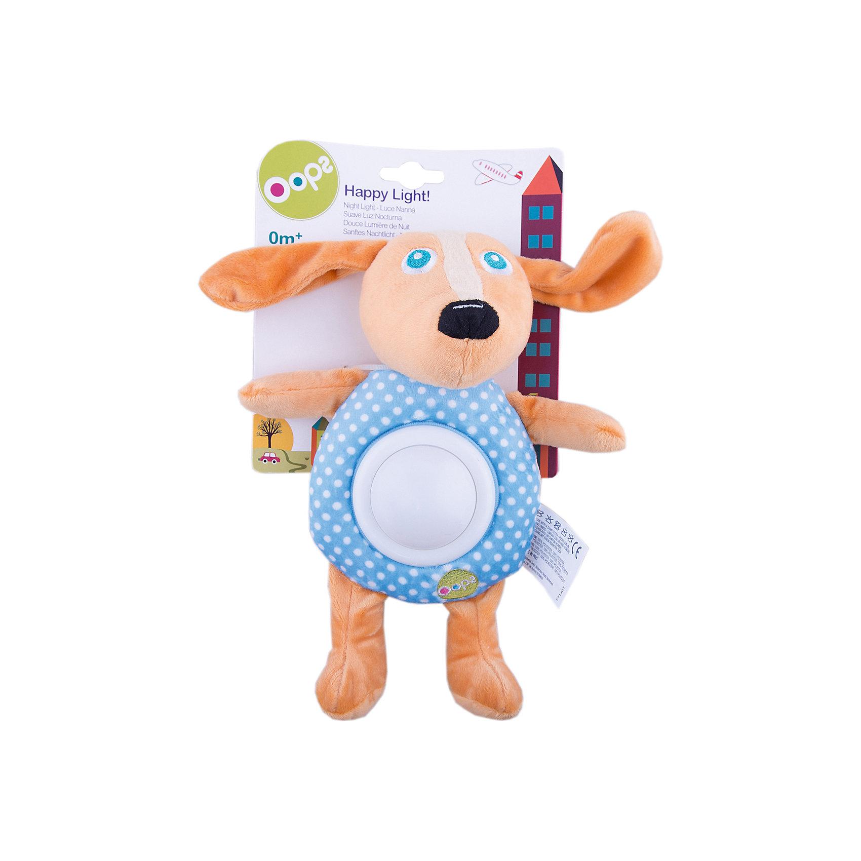Игрушка-ночник Собака, OopsХарактеристики игрушки-ночника Собака:<br><br>- тип ночника: детский<br>- назначение: освещение детских комнат<br>- крепление: настольное<br>- количество ламп: 1 шт.<br>- материал плафона: пластик<br>- тип выключателя: механический<br>- размеры: 19 * 24 * 9 см <br>- размер упаковки (дхшхв): 20* 18 * 8 см <br>- вес в упаковке: 110 г<br>- электропитание: 2 ААА<br>- форм-фактор батареи: AAA (LR03)<br>- количество элементов питания: 2 шт.<br>- комплектация ночник: 3 батарейки АА<br>- вес в упаковке: 115 г<br>- производитель: Oops (Китай).<br><br>Ночник Собака – это мягконабивная игрушка для детей от 2-3 месяцев. Мягкий ночничок в виде смешной собачки поможет Вашему малышу быстро заснуть. С такой мягкой и приятной на ощупь игрушкой ребенку будет приятно и спокойно, как днём во время игры, так и вечером. Если нажать на животик собачки, то загорится свет от ночника. <br>Цвета на ночнике могут меняться на зеленый, красный, синий и желтый.<br><br>Игрушка-ночник Собака торговой марки Oops (Упс) можно купить в нашем интернет-магазине.<br><br>Ширина мм: 160<br>Глубина мм: 60<br>Высота мм: 270<br>Вес г: 225<br>Возраст от месяцев: 24<br>Возраст до месяцев: 60<br>Пол: Унисекс<br>Возраст: Детский<br>SKU: 5146698