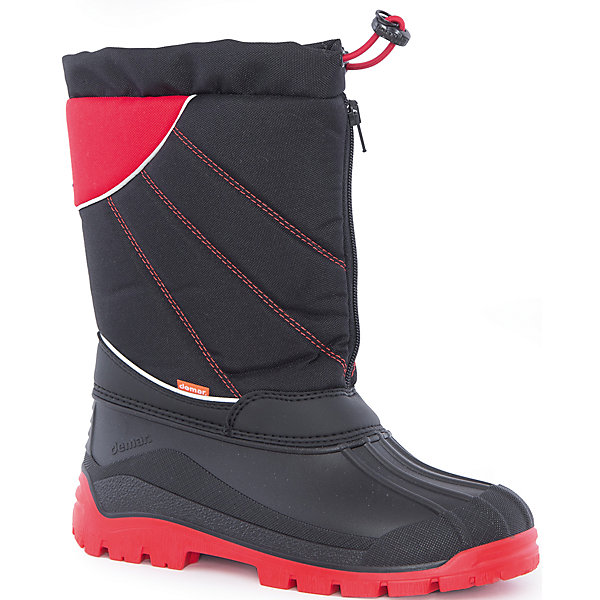 Сноубутсы Nico-M для мальчика DEMARСноубутсы<br>Характеристики товара:<br><br>• цвет: черный, красный<br>• материал верха: текстиль<br>• материал подкладки: 100% натуральная шерсть <br>• материал подошвы: ТЭП<br>• температурный режим: от -25° до 0° С<br>• верх не продувается, пропитка от грязи и влаги<br>• анискользящая подошва<br>• молния<br>• усиленные пятка и носок<br>• страна бренда: Польша<br>• страна изготовитель: Польша<br><br>Зима - это время катания с горок, игр в снежки, лепки снеговиков и прогулок в снегопад! Чтобы не пропустить главные зимние удовольствия, нужно запастись теплой и удобной обувью. Такие сапожки обеспечат ребенку необходимый для активного отдыха комфорт, а подкладка из натуральной овечьей шерсти позволит ножкам оставаться теплыми. Сапожки легко надеваются и снимаются, отлично сидят на ноге. Они удивительно легкие!<br>Обувь от польского бренда Demar - это качественные товары, созданные с применением новейших технологий и с использованием как натуральных, так и высокотехнологичных материалов. Обувь отличается стильным дизайном и продуманной конструкцией. Изделие производится из качественных и проверенных материалов, которые безопасны для детей.<br><br>Сапоги Nico-M для мальчика от бренда Demar (Демар) можно купить в нашем интернет-магазине.<br><br>Ширина мм: 257<br>Глубина мм: 180<br>Высота мм: 130<br>Вес г: 420<br>Цвет: черный<br>Возраст от месяцев: 144<br>Возраст до месяцев: 156<br>Пол: Мужской<br>Возраст: Детский<br>Размер: 35/36,39/40,37/38<br>SKU: 5146899