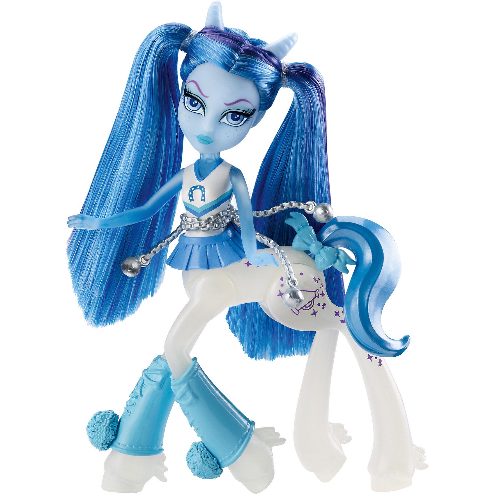 Кукла Скайра Баунсгейт, Fright-Mares, Monster HighПопулярные игрушки<br>Характеристики:<br><br>• Вид игр: сюжетно-ролевые, для коллекционирования<br>• Пол: для девочки<br>• Серия: Мини-кентавры (Monster High Fright-Mares Fawtine Fallowhart Doll)<br>• Материал: пластик, полимер<br>• Цвет: белый, голубой<br>• Высота куклы: 14,5 см<br>• Подвижные части тела<br>• Наличие украшение для хвоста, ног, талии<br>• Тип упаковки: картонная коробка<br>• Размеры упаковки (Д*Ш*В): 21*17*6 см<br>• Вес: 150 г<br><br>Кукла Скайра Баунсгейт, Fright-Mares, Monster High – это мини-кукла новой серии от Mattel, которые предстают в новом образе – наполовину кентавров и наполовину монстров. У каждой мини-куклы свой уникальный стиль и внешний вид.  Фаунтин Фэллоухарт – это лошадка-привидение с длинными голубыми волосами и сиреневыми прядями. На ней спортивная форма, выполненная в цветах школы, на талии имеется пояс из цепей, хвостик украшен маленьким бантиков. На голове имеются маленькие серебристые рожки. Все элементы куклы выполнены из безопасного и нетоксичного пластика и полимера, в туловище имеется шарнир, который позволяет поворачивать корпус куклы в разные сторона. Голова и руки – подвижные. <br><br>Куклу Скайру Баунсгейт, Fright-Mares, Monster High можно купить в нашем интернет-магазине.<br><br>Ширина мм: 205<br>Глубина мм: 60<br>Высота мм: 165<br>Вес г: 210<br>Возраст от месяцев: 72<br>Возраст до месяцев: 144<br>Пол: Женский<br>Возраст: Детский<br>SKU: 5147886