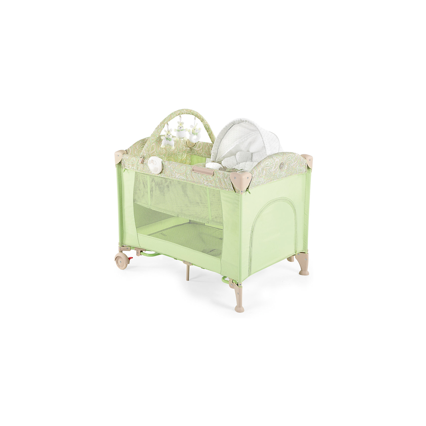Кровать-манеж LAGOON V2, Happy Baby, зеленыйМанежи-кроватки<br>Кровать-манеж LAGOON V2, Happy Baby, зеленый.<br><br>Характеристики:<br><br>• можно использовать в качестве кроватки или шезлонга<br>• имеет второе дно для новорожденных малышей<br>• шезлонг можно использовать как качалку или как пеленальный столик<br>• есть дуга с игрушками <br>• съемные силиконовые полозья для укачивания малыша<br>• вход сбоку на молнии<br>• есть карман и москитная сетка<br>• шезлонг оснащен ремнями безопасности<br>• блок с подсветкой и вибрацией <br>• компактна в собранном виде<br>• материал: пластик, металл, полиэстер<br>• вес: 13,2 кг<br>• размер в разложенном виде: 110х80х85 см<br>• размер шезлонга: 73х47х34 см<br>• размер в собранном виде: 27х24х80 см<br>• цвет: зеленый<br><br>Универсальная кровать-манеж lagoon v2 от известной марки Happy Baby можно использовать как манеж, кроватку или шезлонг. Манеж имеет второе дно для малышей. Шезлонг тоже можно использовать в двух вариантах: качалка и пеленальный столик. Для этого достаточно установить шезлонг на полозья, либо на бортики. Уберите второе дно - и манеж легко превратится из спального места в игровую площадку!  Кроме того, манеж имеет много приятных мелочей, которые облегчат жизнь родителей: дополнительный лаз на молнии, карман для полезных вещей, дуга с мягкими зайчиками и многое другое. Для вашего удобства манеж оснащен колесиками и очень компактен в собранном виде. Кровать-манеж lagoon v2 - лучший выбор заботливых родителей!<br><br>Кровать-манеж LAGOON V2, Happy Baby, зеленый вы можете купить в нашем интернет-магазине.<br><br>Ширина мм: 270<br>Глубина мм: 270<br>Высота мм: 810<br>Вес г: 13830<br>Возраст от месяцев: 0<br>Возраст до месяцев: 36<br>Пол: Унисекс<br>Возраст: Детский<br>SKU: 5148403