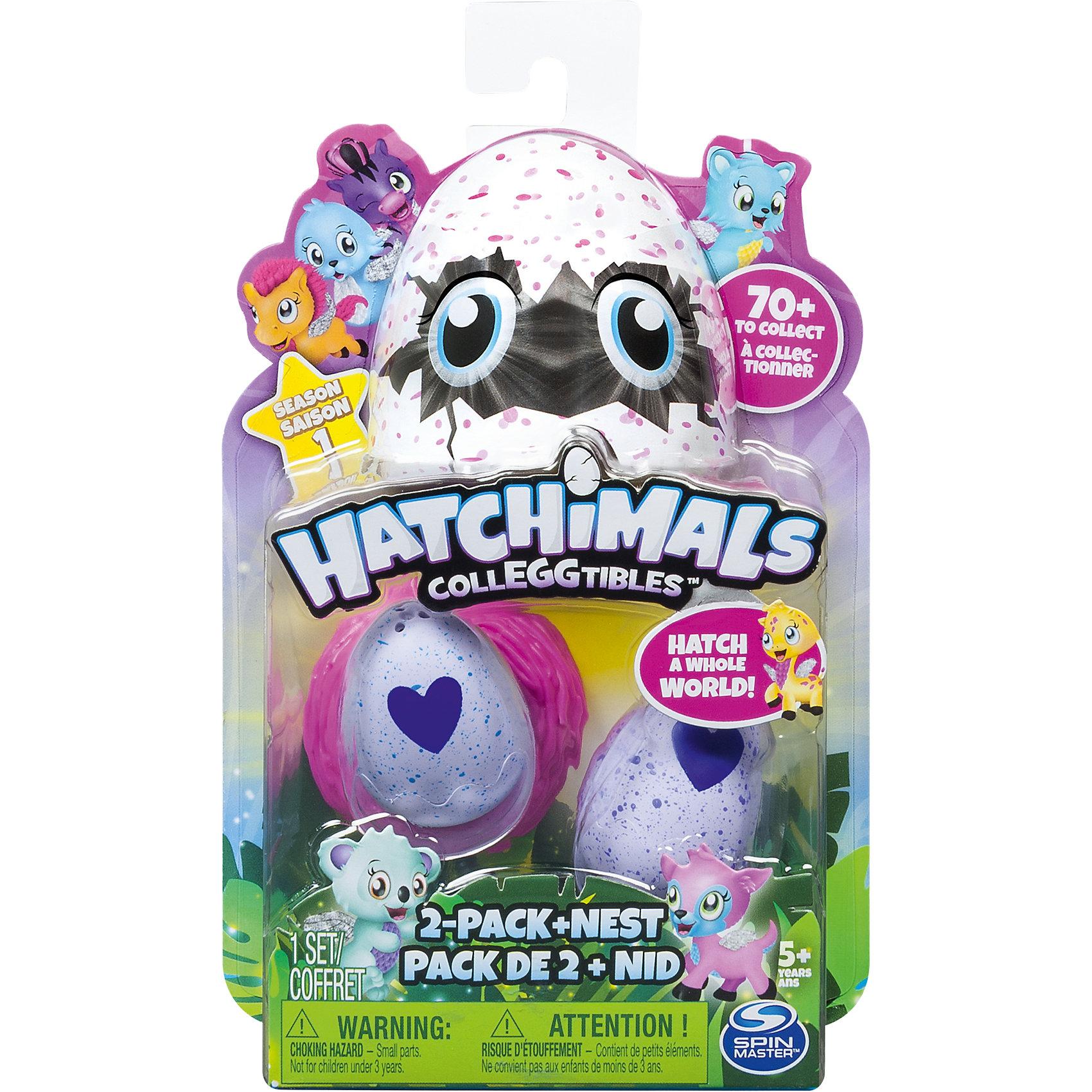 Набор из 2-х коллекционных фигурок, HatchimalsМир животных<br>Характеристики товара:<br><br>• возраст: от 5 лет;<br>• материал: пластик;<br>• в комплекте: 2 яйца, 2 фигурки, гнездо, памятка;<br>• высота фигурки: 3,5 см;<br>• высота яйца: 4,2 см;<br>• размер упаковки: 18х13х4 см;<br>• вес упаковки: 50 гр.;<br>• страна производитель: Китай.<br><br>Набор из 2 коллекционных фигурок Hatchimals — забавные питомцы, спрятанные в фиолетовой скорлупе с крапинками. Они ждут момента, когда же смогут вылупиться. <br><br>На скорлупе имеется фиолетовое сердечко, которое надо потереть, чтобы питомец вылупился из скорлупы. Сердечко меняет свой цвет на розовый, когда питомец уже готов появиться на свет. Надо только помочь ему и потянуть верхнюю часть скорлупы.<br><br>Игрушка упакована в непрозрачный пакет, и какой именно питомец достанется ребенку, будет для него сюрпризом. В коллекции более 70 зверьков. Памятка поможет ребенку разобраться во всей коллекции, категориях. В нее можно заносить информацию об уже имеющемся зверьке.<br><br>Набор из 2 коллекционных фигурок Hatchimals можно приобрести в нашем интернет-магазине.<br><br>Ширина мм: 179<br>Глубина мм: 124<br>Высота мм: 45<br>Вес г: 90<br>Возраст от месяцев: 36<br>Возраст до месяцев: 84<br>Пол: Унисекс<br>Возраст: Детский<br>SKU: 5149640