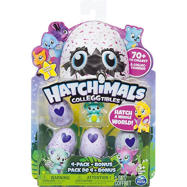 Набор из 4-х коллекционных фигурок +  бонус, HatchimalsМир животных<br>Характеристики товара:<br><br>• возраст: от 5 лет;<br>• материал: пластик;<br>• в комплекте: 4 яйца с фигуркой, фигурка питомца, памятка;<br>• высота фигурки: 3,5 см;<br>• высота яйца: 4,2 см;<br>• размер упаковки: 18х23х4 см;<br>• вес упаковки: 100 гр.;<br>• страна производитель: Китай.<br><br>Набор из 4 коллекционных фигурок Hatchimals — забавные питомцы, спрятанные в фиолетовой скорлупе с крапинками. Они ждут момента, когда же смогут вылупиться. В наборе дополнительный бонус для ребенка — одна фигурка зверька, не спрятанного в яйце.<br><br>На скорлупе имеется фиолетовое сердечко, которое надо потереть, чтобы питомец вылупился из скорлупы. Сердечко меняет свой цвет на розовый, когда питомец уже готов появиться на свет. Надо только помочь ему и потянуть верхнюю часть скорлупы.<br><br>Игрушка упакована в непрозрачный пакет, и какой именно питомец достанется ребенку, будет для него сюрпризом. В коллекции более 70 зверьков. Памятка поможет ребенку разобраться во всей коллекции, категориях. В нее можно заносить информацию об уже имеющемся зверьке.<br><br>Набор из 4 коллекционных фигурок Hatchimals можно приобрести в нашем интернет-магазине.<br><br>Ширина мм: 230<br>Глубина мм: 175<br>Высота мм: 43<br>Вес г: 147<br>Возраст от месяцев: 36<br>Возраст до месяцев: 84<br>Пол: Унисекс<br>Возраст: Детский<br>SKU: 5149641