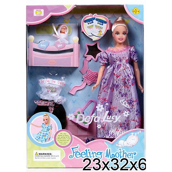 Беременная кукла + 2 ребенка, с аксессуарами, Defa LucyКуклы<br>Заботливая мама с двумя малышами станет прекрасной игрушкой для Вашего ребенка. В комплект входит дополнительная одежда для мамочки, которую можно примерить, когда малыш появится на свет( живот у куклы снимается). В комплект так же входят красивые туфли, модная сумочка, зеркальце и расческа, с помощью которой можно делать красивые прически.<br><br>Ширина мм: 60<br>Глубина мм: 290<br>Высота мм: 230<br>Вес г: 430<br>Возраст от месяцев: 36<br>Возраст до месяцев: 72<br>Пол: Женский<br>Возраст: Детский<br>SKU: 5154124