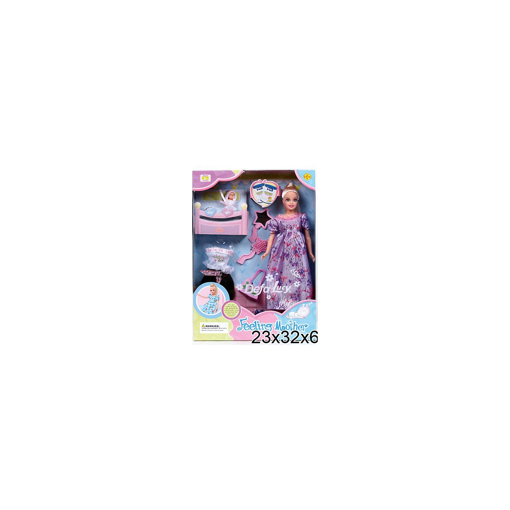 - Беременная кукла + 2 ребенка, с аксессуарами, Defa Lucy кукла defa lucy невеста 8341