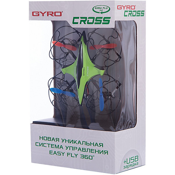 6-осевой Gyro-Cross квадрокоптер 2,4GHz, 4 канала, 1toyИдеи подарков<br>6-осевой Gyro-Cross квадрокоптер 2,4GHz, 4 канала, 1toy (1 той).<br><br>Характеристики:<br><br>• Размеры: 16х16 см.<br>• Частота управления - 2,4GHz.<br>• Зарядное устройство: USB-кабель.<br>• Зарядка-25мин, полёт-8мин.<br>• Радиус действия: <br>до 50 метров. <br>• Аккумулятор: 3.7V/100mAh.<br>• Запасные лопасти: 4шт.<br>• Пульт работает от 3х батареек ААА (батарейки в комлект не входят).<br><br>Квадрокоптер Gyro Cross имеет размер 16 см, что позволяет запускать его как дома, так и на улице. Джойстик управления стилизован под традиционный геймерский пульт. Модель обладает рядом уникальных функций, которые значительно упрощают взаимодействие с квадрокоптером и делают полёт более увлекательным. Визуальный тримминг (отладка вращения) позволяет быстро и удобно отрегулировать управление моделью: после завершения процедуры настройки, квадрокоптер помигает диодами. Новая уникальная система управления EASY FLY 360° позволяет уверенно управлять квадрокоптером, где бы он не находился – перед пилотом или за спиной. При помощи этой функции, которая активируется в полете, квадрокоптер всегда будет следовать в том же направлении, что и джойстик пульта управления. Квадрокоптер имеет 2 скоростных режима.<br><br>6-осевой Gyro-Techno квадрокоптер 2,4GHz, 4 канала, 1toy (1 той), можно купить в нашем интернет – магазине.<br>Ширина мм: 190; Глубина мм: 300; Высота мм: 100; Вес г: 463; Возраст от месяцев: 60; Возраст до месяцев: 192; Пол: Мужской; Возраст: Детский; SKU: 5154275;