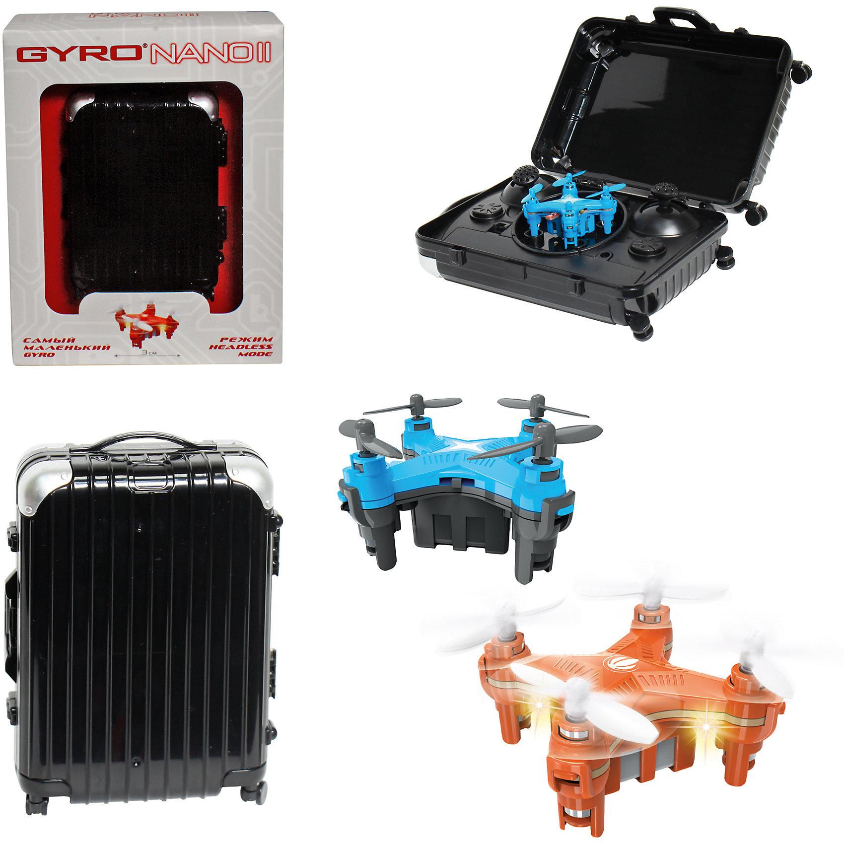6-осевой Gyro-Nano II квадрокоптер 2,4GHz, 4 канала, в чемоданчике, 1toyКвадрокоптеры<br>6-осевой Gyro-Nano II квадрокоптер 2,4GHz, 4 канала, в чемоданчике, 1toy (1 той).<br><br>Характеристики:<br><br>• Размеры: 4,5х4,5 см.<br>• Частота управления - 2,4GHz.<br>• Зарядное устройство: USB-кабель.<br>• Зарядка-25мин, полёт-8мин.<br>• Радиус действия: до 50 метров. <br>• Аккумулятор: 3.7V/100mAh.<br>• Пульт работает от 3х батареек ААА (батарейки в комлект не входят).<br><br>Модель Gyro-Nano II прекрасно подходит для начинающих пилотов, которым ранее не приходилось управлять квадрокоптерами. Модель сочетает все лучшие функции более дорогих квадрокоптеров в небольшом корпусе. Благодаря своему миниатюрному размеру в 3 см, квадрокоптер отлично подходит для полётов дома. Модель управляется на частоте 2,4GHz, имеет два скоростных режима, обладает 6-осевым гироскопом, благодаря которому квадрокоптер способен взлетать даже в броске, а также делать сальто на 360°.Интересной особенностью является также и пульт модели, стилизованный под дорожный чемоданчик.<br><br>6-осевой Gyro-Nano II квадрокоптер 2,4GHz, 4 канала, в чемоданчике, 1toy (1 той), можно купить в нашем интернет – магазине.<br><br>Ширина мм: 185<br>Глубина мм: 55<br>Высота мм: 145<br>Вес г: 233<br>Возраст от месяцев: 60<br>Возраст до месяцев: 192<br>Пол: Мужской<br>Возраст: Детский<br>SKU: 5154276