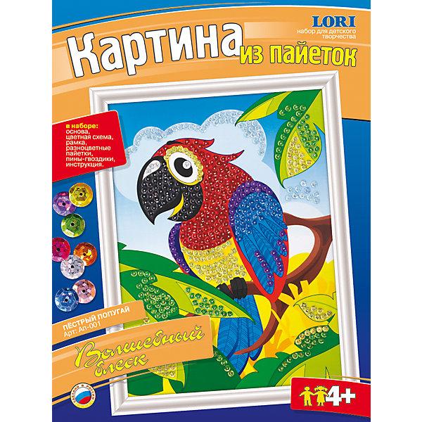 Картина из пайеток Пестрый попугайАппликации из бумаги<br>Характеристики картины из пайеток Пестрый попугай:<br><br>- возраст: от 4 лет<br>- пол: для мальчиков и девочек<br>- комплект: основа, цветная схема, рамка, разноцветные пайетки, пины-гвоздики, инструкция.<br>- материал : картон, пластик, металл.<br>- размер упаковки: 36 * 27 * 4 см.<br>- страна производитель: Россия.<br>- упаковка: картонная коробка.<br>- страна обладатель бренда: Россия.<br><br>Картина из пайеток «Пестрый попугай» - это набор для творчества, который предназначен для детей от 4-х лет. Под Вашим чутким руководством Ваш малыш сам сможет своими руками украсить живописное изображение попугая при помощи входящих в набор пайеток. Пайетки крепятся к основе согласно инструкции, а в качестве скрепляющих элементов выступают пины-гвоздики. Они блестят разными цветами, делая картину очень оригинальной и необычной поделкой. После завершения процесса этот плод творческих трудов можно будет повесить на стену, так как у картины уже есть рамка.<br><br>Картину из пайеток Пестрый попугай можно купить в нашем интернет-магазине.<br>Ширина мм: 360; Глубина мм: 270; Высота мм: 40; Вес г: 210; Возраст от месяцев: 48; Возраст до месяцев: 84; Пол: Унисекс; Возраст: Детский; SKU: 5154852;