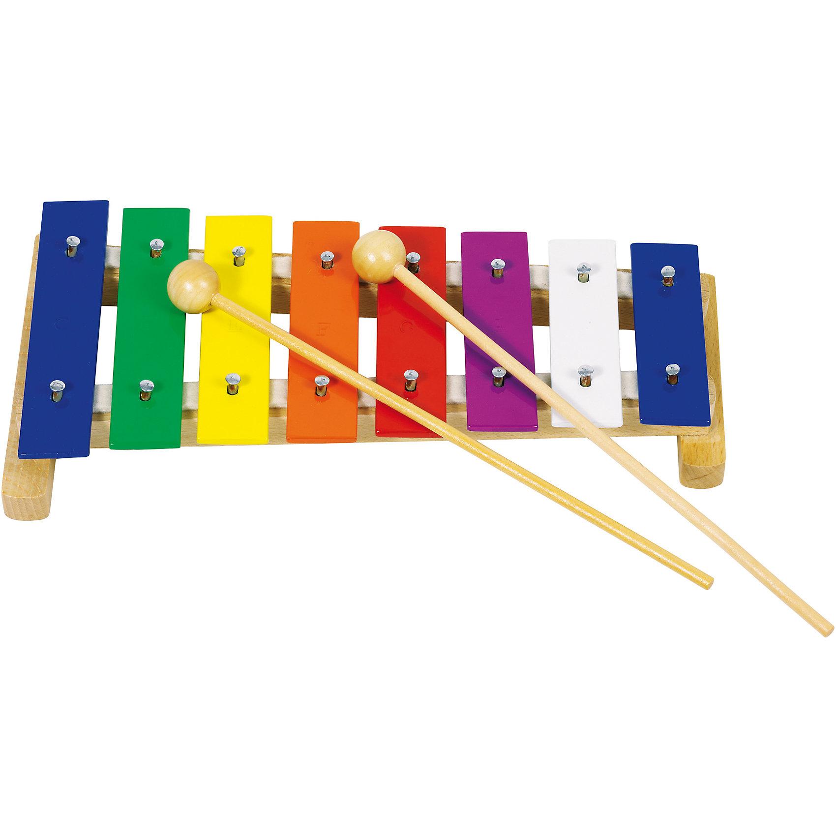 Ксилофон цветной прямой металл/дерево 8 нот, goki
