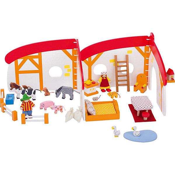 Кукольный дом складной Ферма 35 дет., gokiДомики для кукол<br>Характеристики товара:<br><br>- цвет: разноцветный;<br>- материал: дерево;<br>- возраст: от трех лет;<br>- размер: 21х26 см.<br><br>Этот симпатичный деревянный игровой набор приводит детей в восторг! Какой ребенок сможет отказаться поиграть с фигурками, которые имеют такой красивый раскладывающийся домик?! Игрушка очень качественно выполнена, поэтому она станет замечательным подарком ребенку. Набор включает в себя декорации фермы, мебель, фигурки людей и животных, всего - 35 элементов.<br>Игры с такими фигурками помогаю детям развить важные навыки и отработать модели социального взаимодействия. Изделие произведено из высококачественного материала, безопасного для детей.<br><br>Кукольный дом складной Ферма 35 дет. от бренда GOKI можно купить в нашем интернет-магазине.<br>Ширина мм: 210; Глубина мм: 160; Высота мм: 210; Вес г: 1000; Возраст от месяцев: 36; Возраст до месяцев: 144; Пол: Женский; Возраст: Детский; SKU: 5155310;