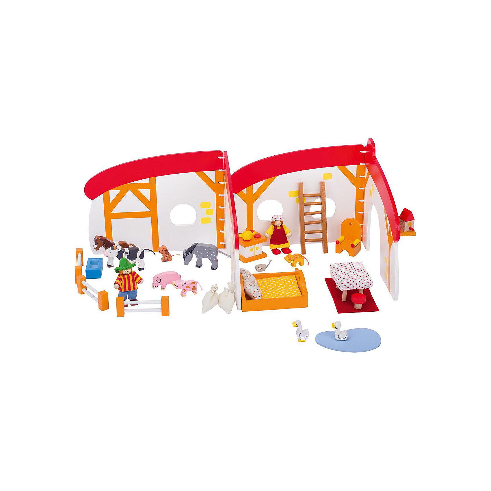 Кукольный дом складной Ферма 35 дет., gokiХарактеристики товара:<br><br>- цвет: разноцветный;<br>- материал: дерево;<br>- возраст: от трех лет;<br>- размер: 21х26 см.<br><br>Этот симпатичный деревянный игровой набор приводит детей в восторг! Какой ребенок сможет отказаться поиграть с фигурками, которые имеют такой красивый раскладывающийся домик?! Игрушка очень качественно выполнена, поэтому она станет замечательным подарком ребенку. Набор включает в себя декорации фермы, мебель, фигурки людей и животных, всего - 35 элементов.<br>Игры с такими фигурками помогаю детям развить важные навыки и отработать модели социального взаимодействия. Изделие произведено из высококачественного материала, безопасного для детей.<br><br>Кукольный дом складной Ферма 35 дет. от бренда GOKI можно купить в нашем интернет-магазине.<br><br>Ширина мм: 210<br>Глубина мм: 160<br>Высота мм: 210<br>Вес г: 1000<br>Возраст от месяцев: 36<br>Возраст до месяцев: 144<br>Пол: Женский<br>Возраст: Детский<br>SKU: 5155310