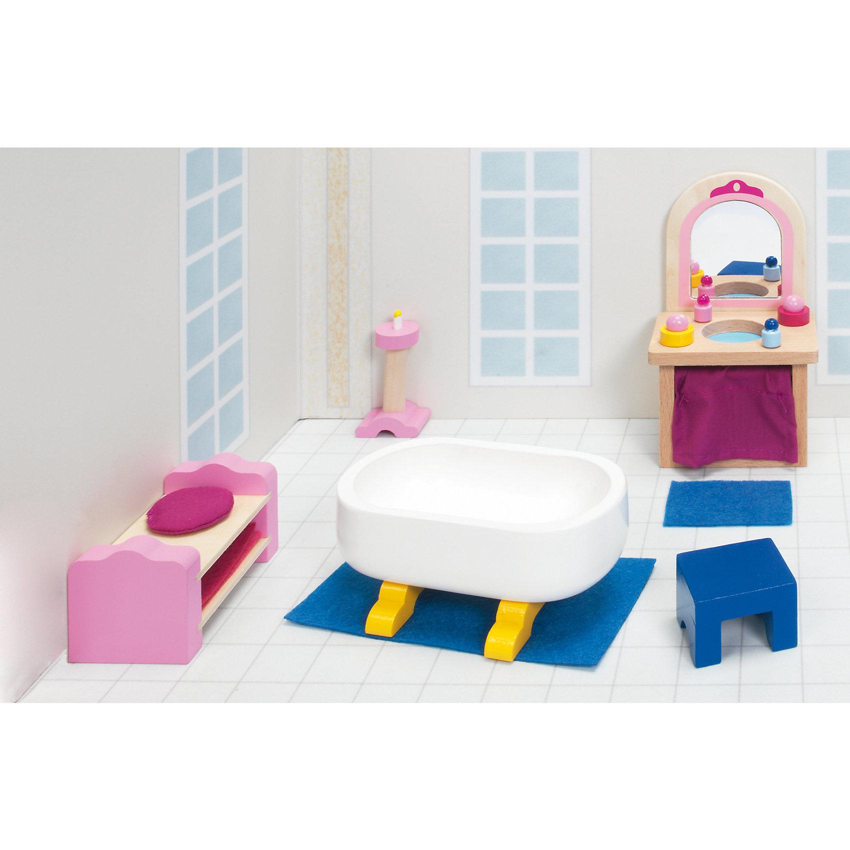 Мебель для кукольной ванной комнаты (дворец), gokiМебель для кукол<br>Характеристики товара:<br><br>- цвет: разноцветный;<br>- материал: дерево;<br>- возраст: от трех лет;<br>- комплектация: 17 предметов.<br><br>Этот симпатичный набор из множества предметов, необходимых в кукольной ванной, приводит детей в восторг! Какая девочка сможет отказаться поиграть с куклами, которые имеют ванную комнату, так похожую на настоящую?! В набор входят самые необходимые для этого помещения вещи. Игрушки очень качественно выполнены, поэтому набор станет замечательным подарком ребенку. <br>Продается набор в красивой удобной упаковке. Игры с куклами помогают девочкам развить важные навыки и отработать модели социального взаимодействия. Изделие произведено из высококачественного материала, безопасного для детей.<br><br>Мебель для кукольной ванной комнаты (дворец) от германского бренда GOKI можно купить в нашем интернет-магазине.<br><br>Ширина мм: 110<br>Глубина мм: 110<br>Высота мм: 110<br>Вес г: 340<br>Возраст от месяцев: 36<br>Возраст до месяцев: 144<br>Пол: Женский<br>Возраст: Детский<br>SKU: 5155313