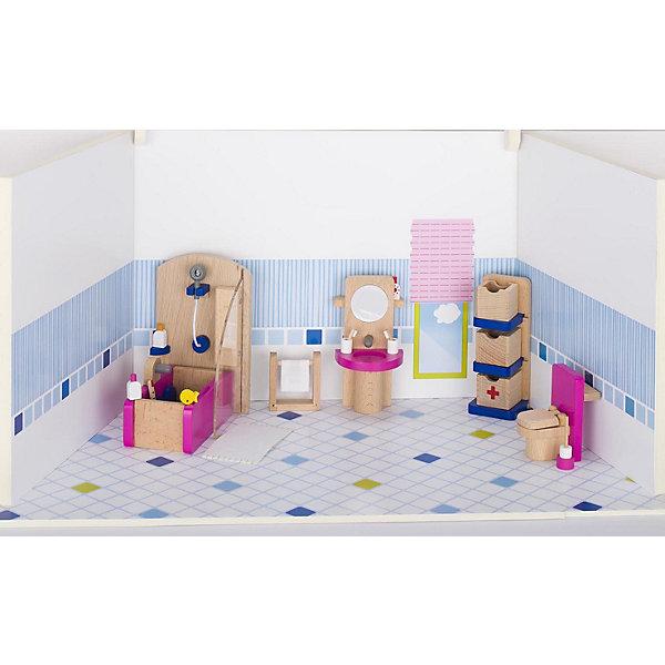 Мебель для кукольной ванной комнаты, gokiМебель для кукол<br>Характеристики товара:<br><br>- цвет: разноцветный;<br>- материал: дерево;<br>- возраст: от трех лет;<br>- комплектация: 22 предмета.<br><br>Этот симпатичный набор из множества предметов, необходимых в кукольной ванной, приводит детей в восторг! Какая девочка сможет отказаться поиграть с куклами, которые имеют ванную комнату, так похожую на настоящую?! В набор входят самые необходимые для этого помещения вещи. Игрушки очень качественно выполнены, поэтому набор станет замечательным подарком ребенку. <br>Продается набор в красивой удобной упаковке. Игры с куклами помогают девочкам развить важные навыки и отработать модели социального взаимодействия. Изделие произведено из высококачественного материала, безопасного для детей.<br><br>Мебель для кукольной ванной комнаты от германского бренда GOKI можно купить в нашем интернет-магазине.<br><br>Ширина мм: 138<br>Глубина мм: 138<br>Высота мм: 138<br>Вес г: 517<br>Возраст от месяцев: 36<br>Возраст до месяцев: 144<br>Пол: Женский<br>Возраст: Детский<br>SKU: 5155314